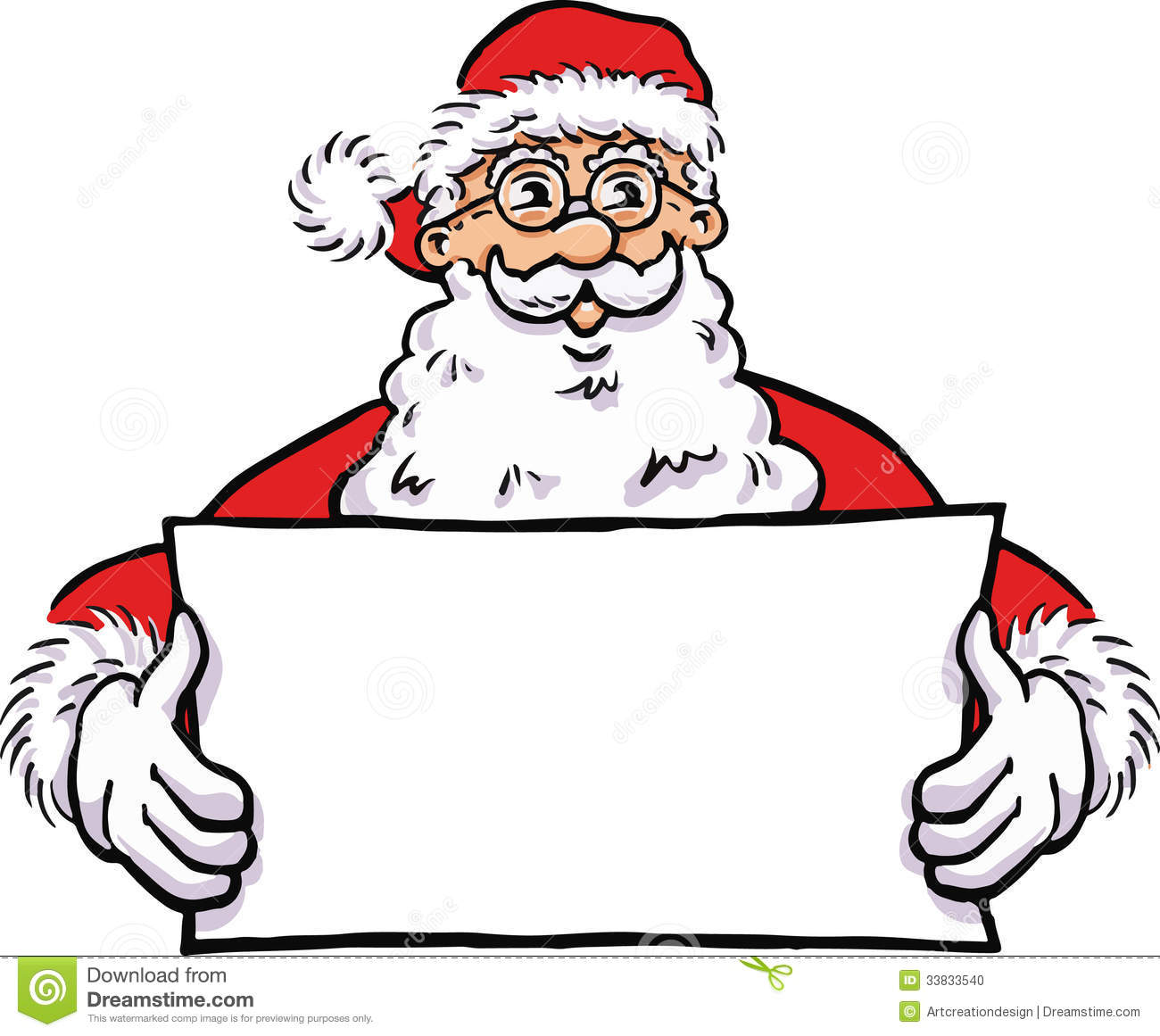 Santa claus with a blank banner stock vector