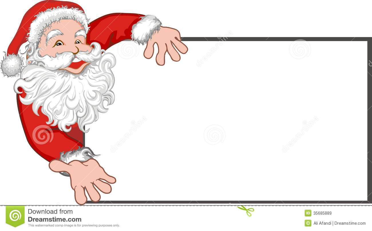 Santa Claus With A Blank Billboard Royalty Free Images – Blank Xmas Cards