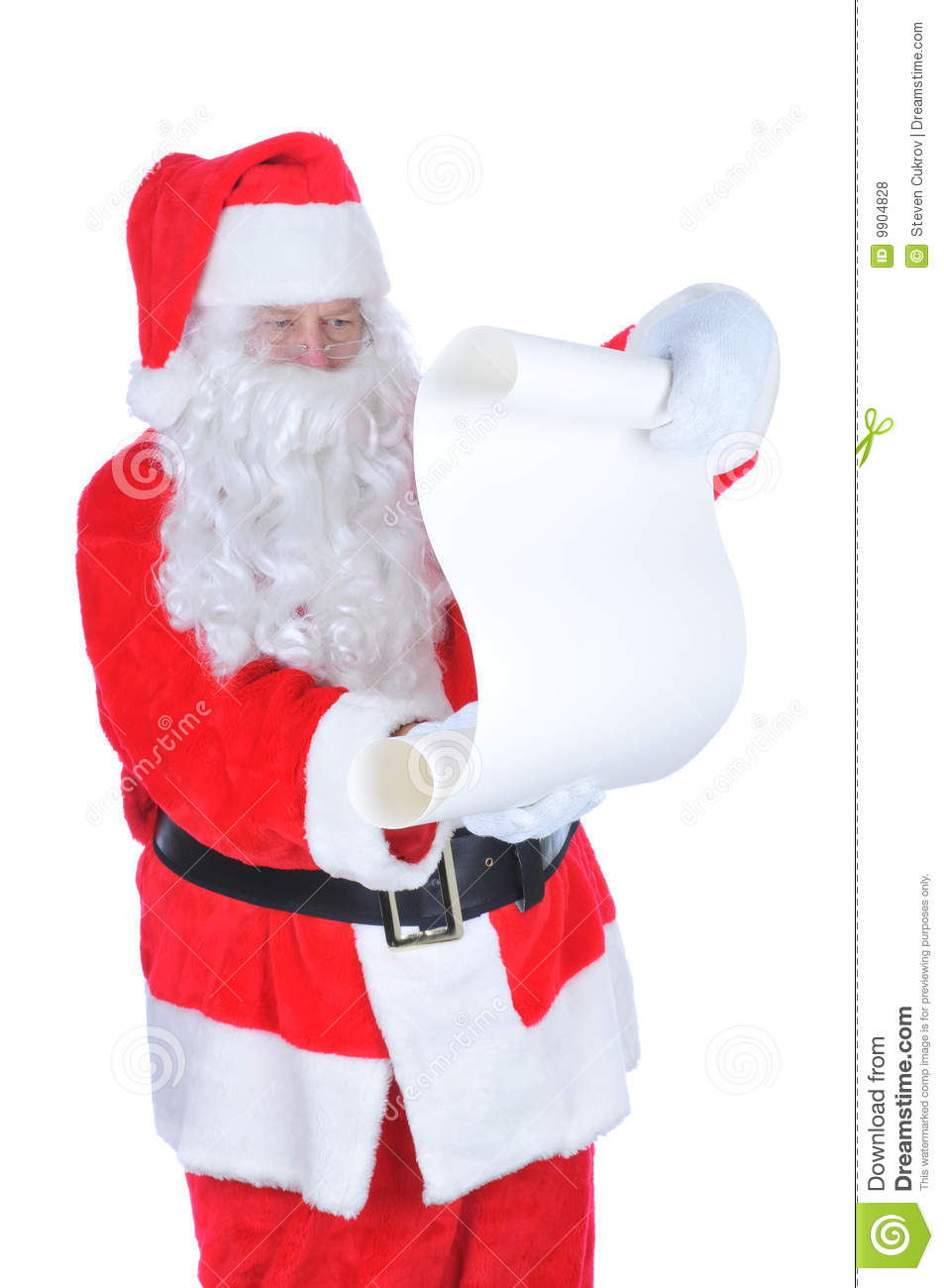 Santa Claus with Blank Naughty and Nice List isolated on white.