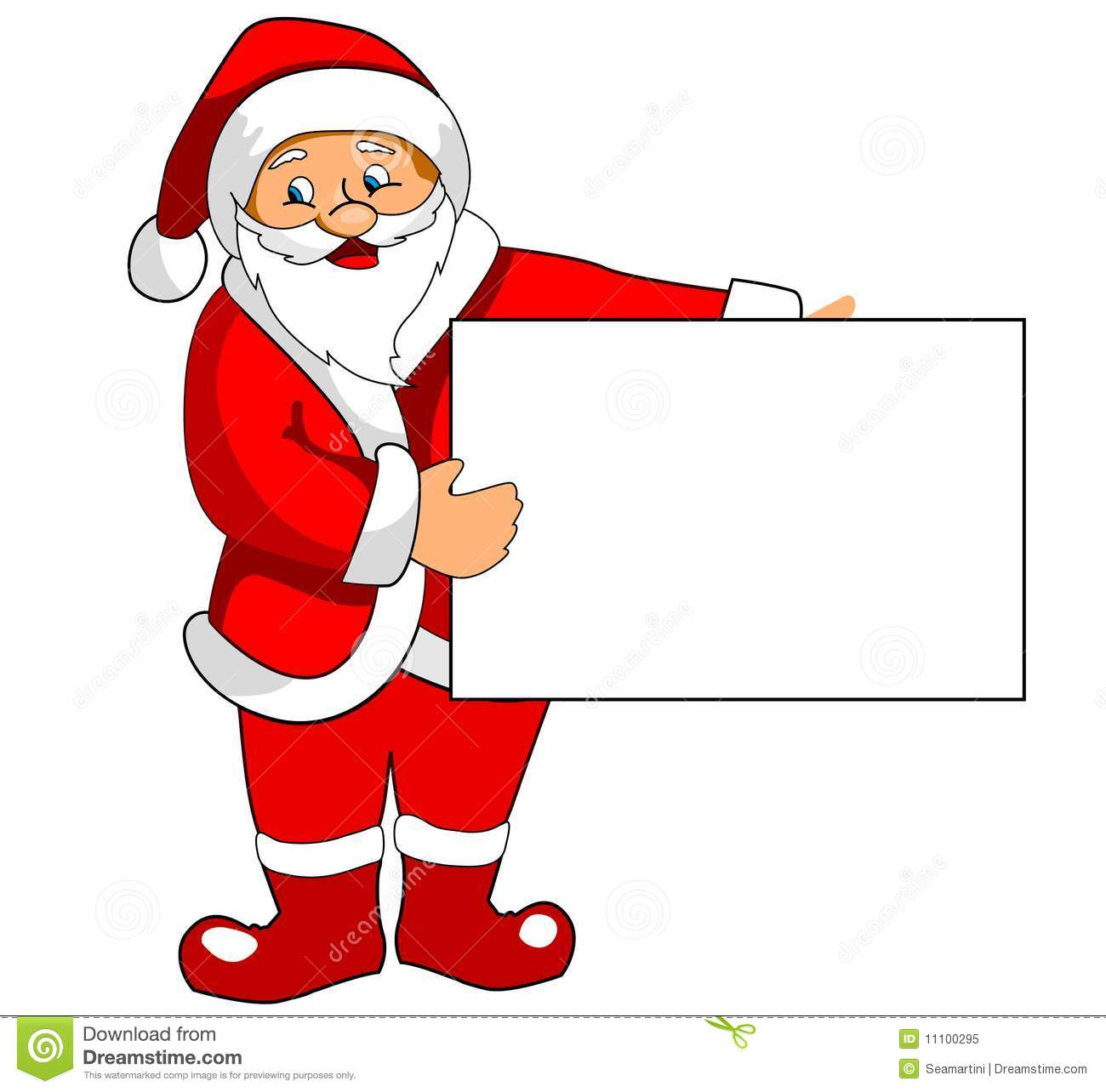 santa claus with blank paper stock vector illustration. Black Bedroom Furniture Sets. Home Design Ideas