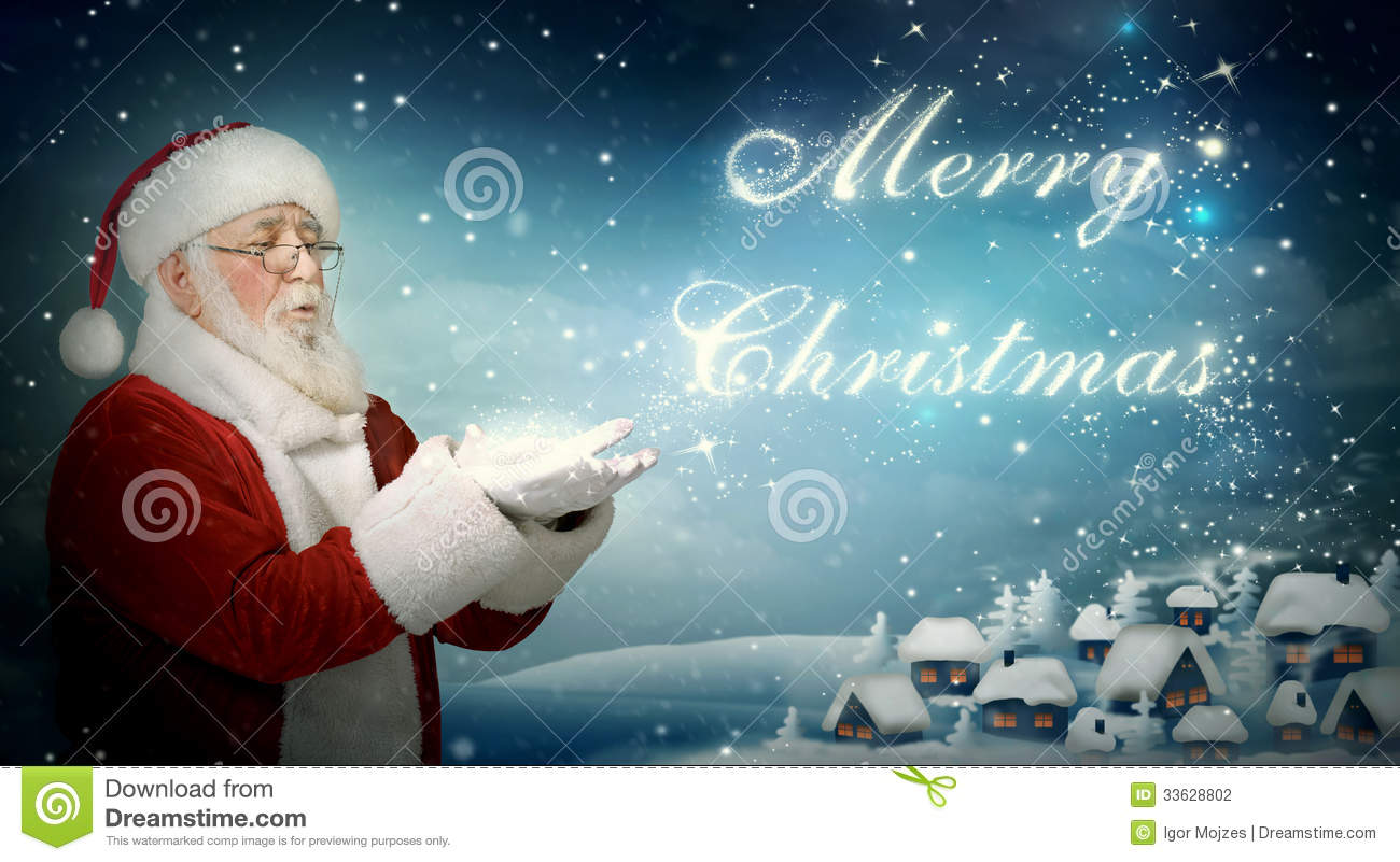 """Santa Claus Blowing Snow """"Merry Christmas"""" Stock Photography ..."""