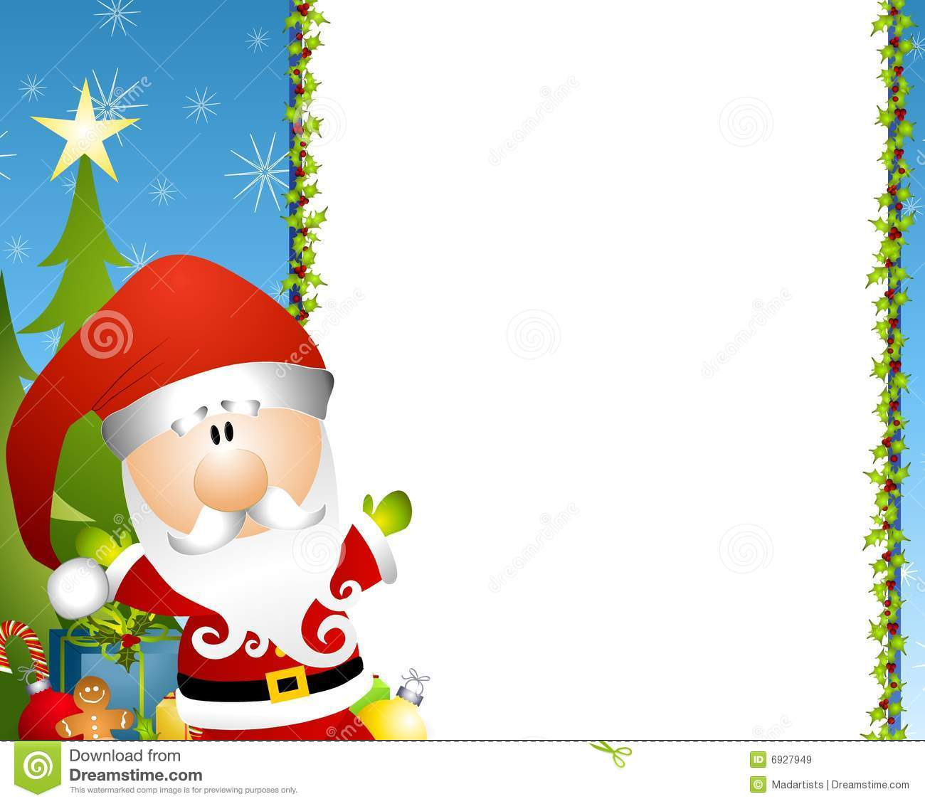 illustration featuring a Santa Claus with holly border and presents ...