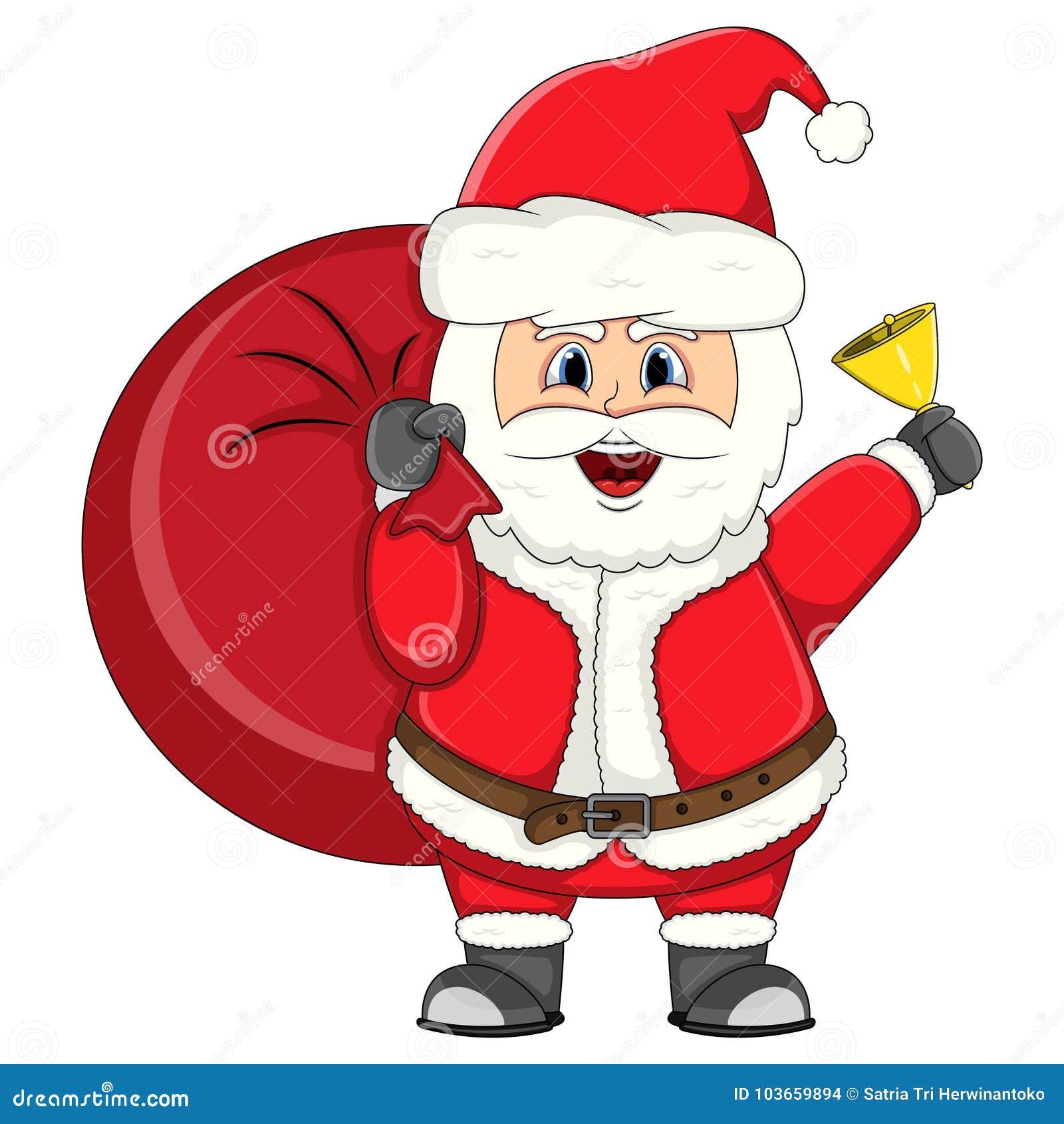Santa Claus Bring A Gift Bag Christmas Cartoon Stock Vector