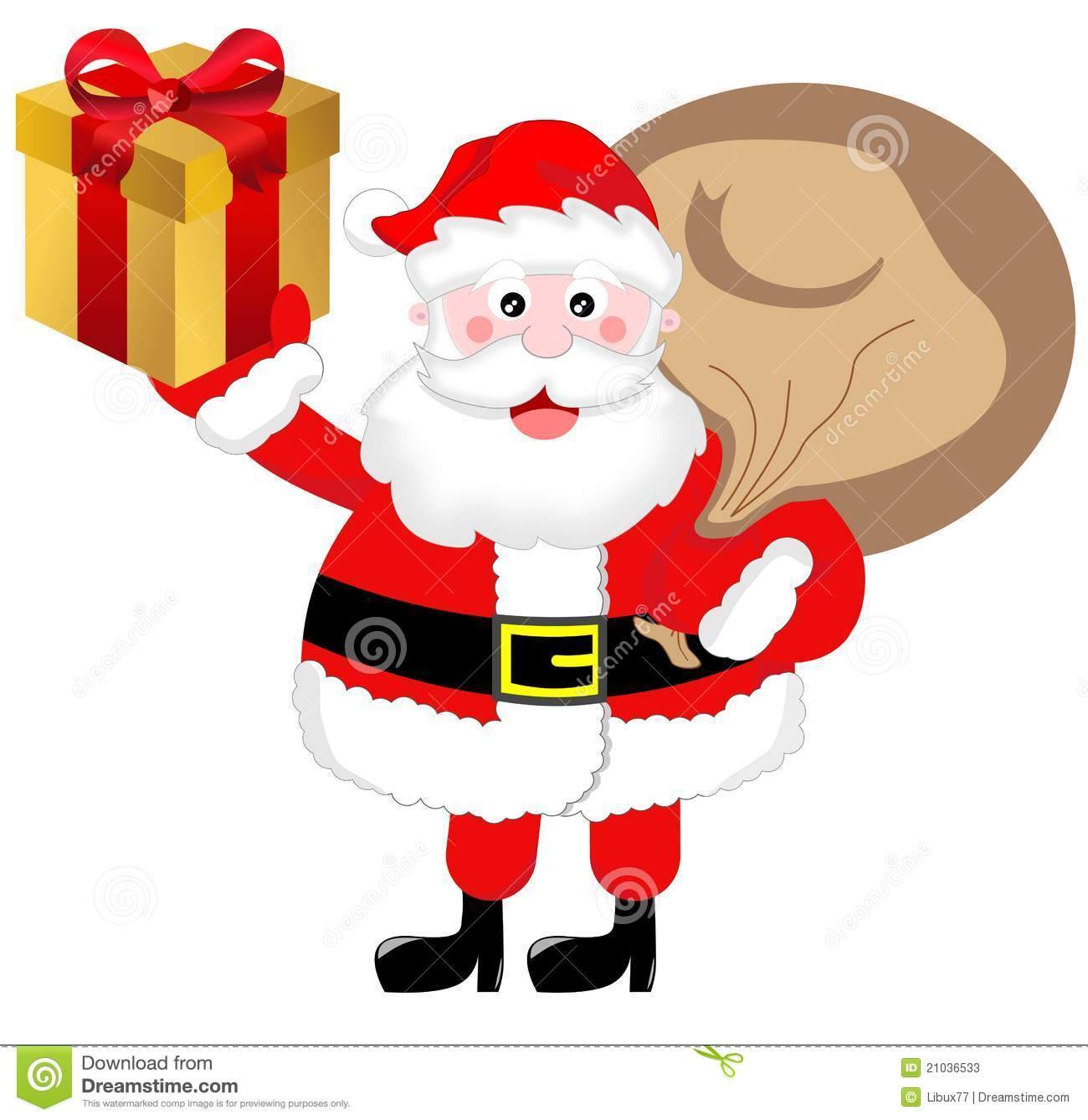 Illustration of fat cute Santa Claus with a sack and a present on a ...