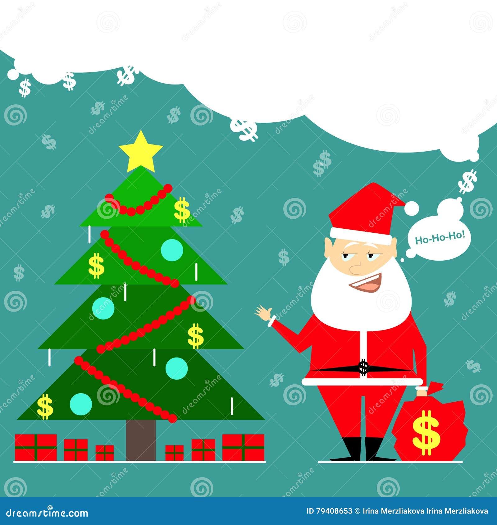 Santa claus brought a bag of money business card cartoon comic royalty free illustration magicingreecefo Choice Image