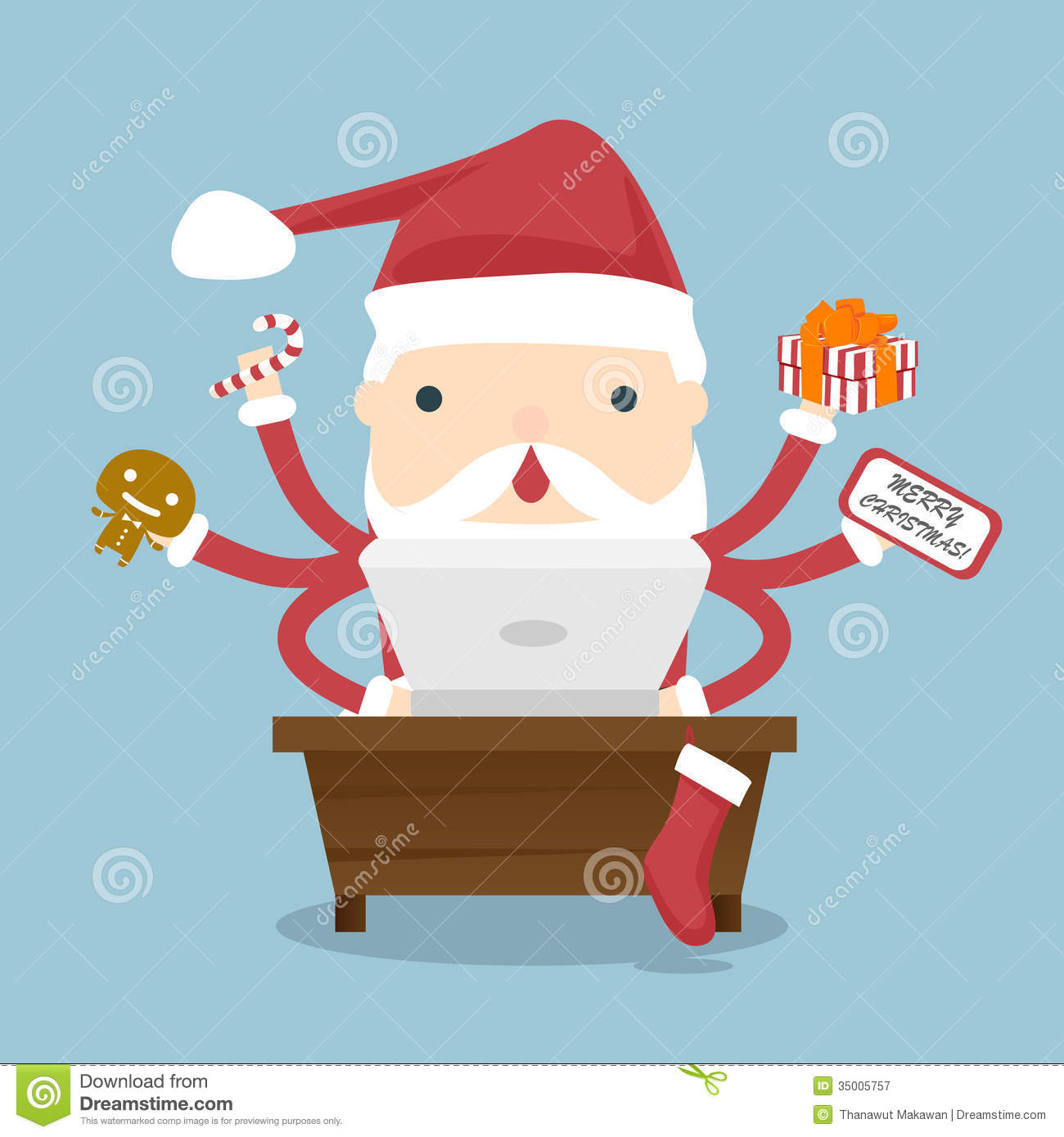 Santa Claus Busy Royalty Free Stock Photography - Image: 35005757
