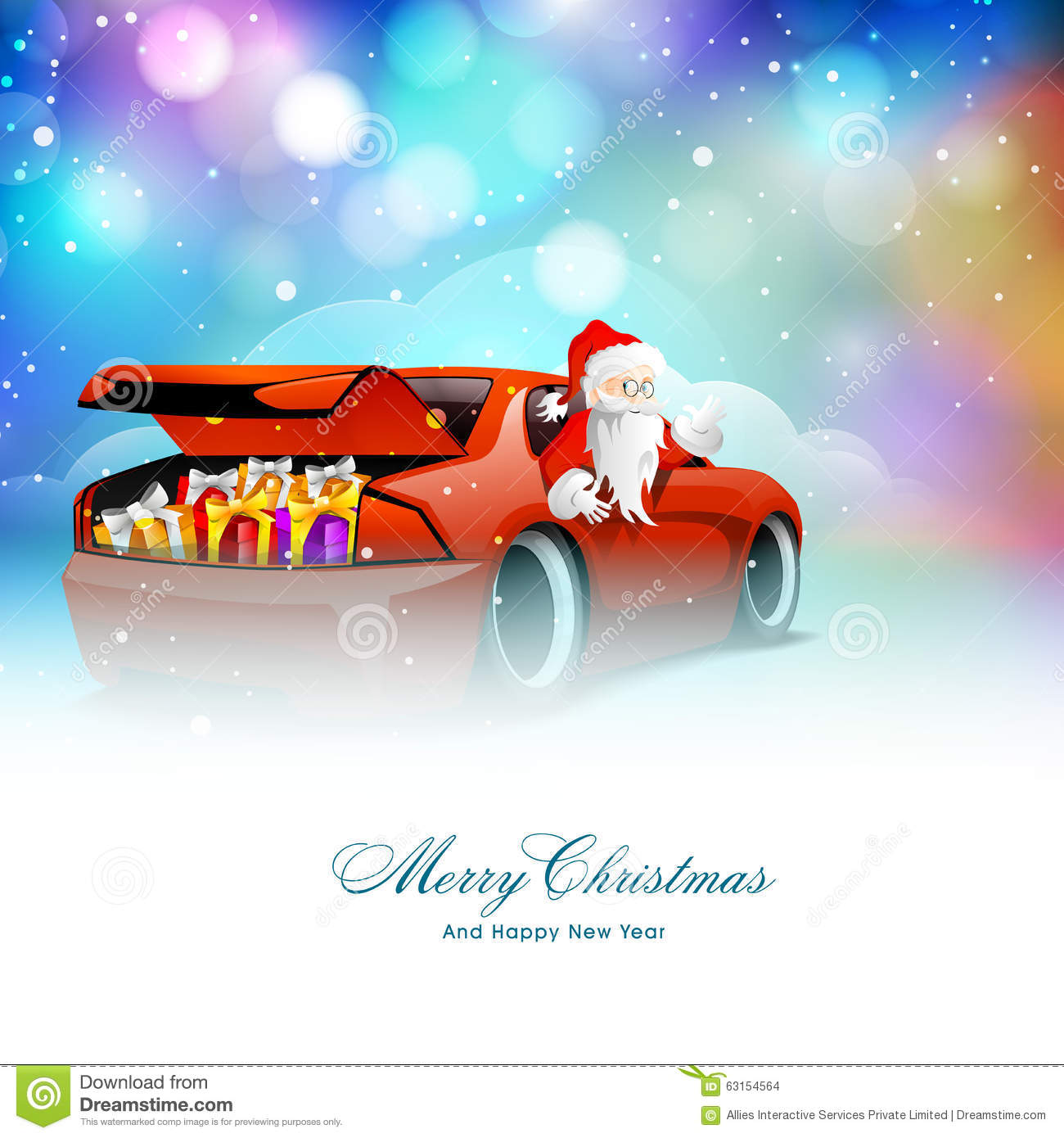 Santa Claus In Car For Christmas And New Year. Stock Illustration ...
