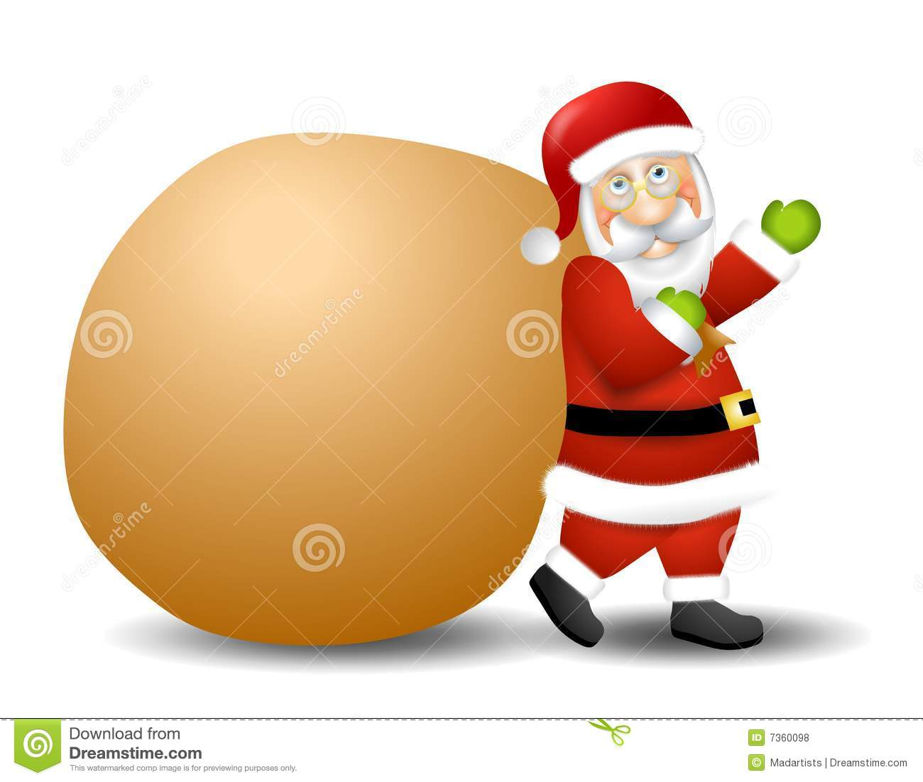 Sack Of Toys : Santa claus carrying toy sack royalty free stock photos