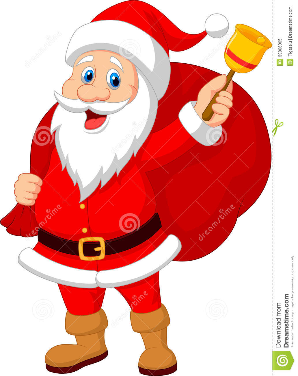 Santa claus cartoon with bell carrying sack stock vector illustration of holiday gift 39806065 - Papa noel vector ...
