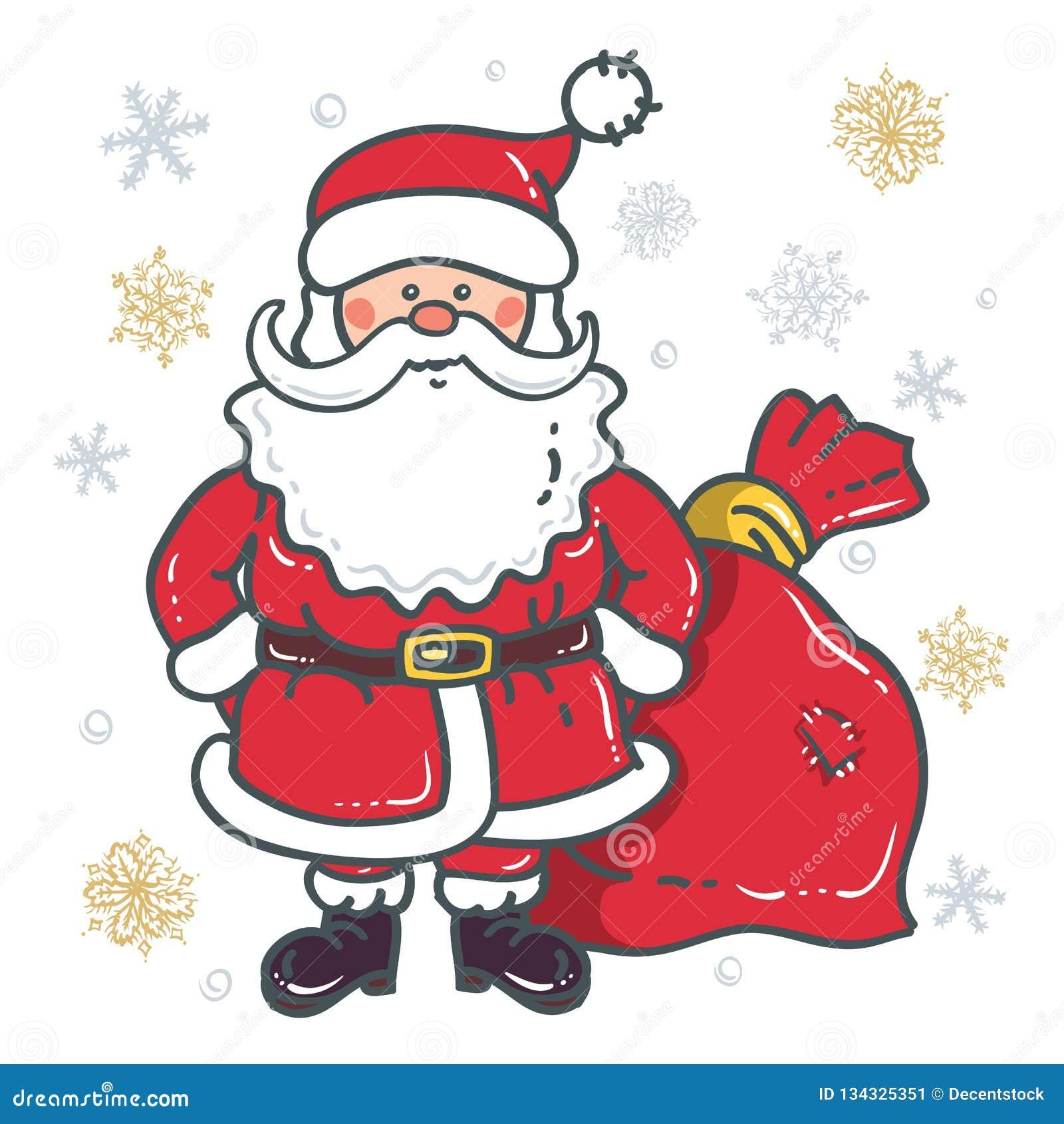 Santa Claus Cartoon Character avec le sac sur le fond des flocons de neige sur un fond blanc