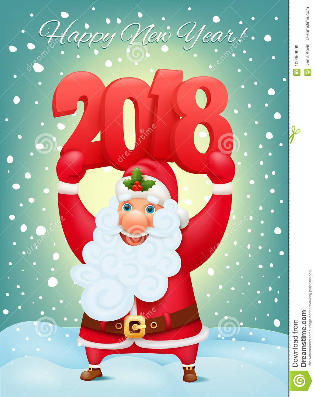 santa claus cartoon character holding 2018 big numbers new year invitation card temolate