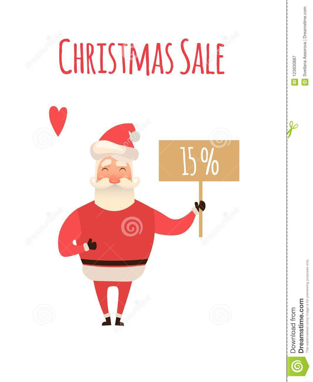 Santa Claus Cartoon Character Holding Christmas Sale Placard in white Background. Vector xmas Illustration for your web