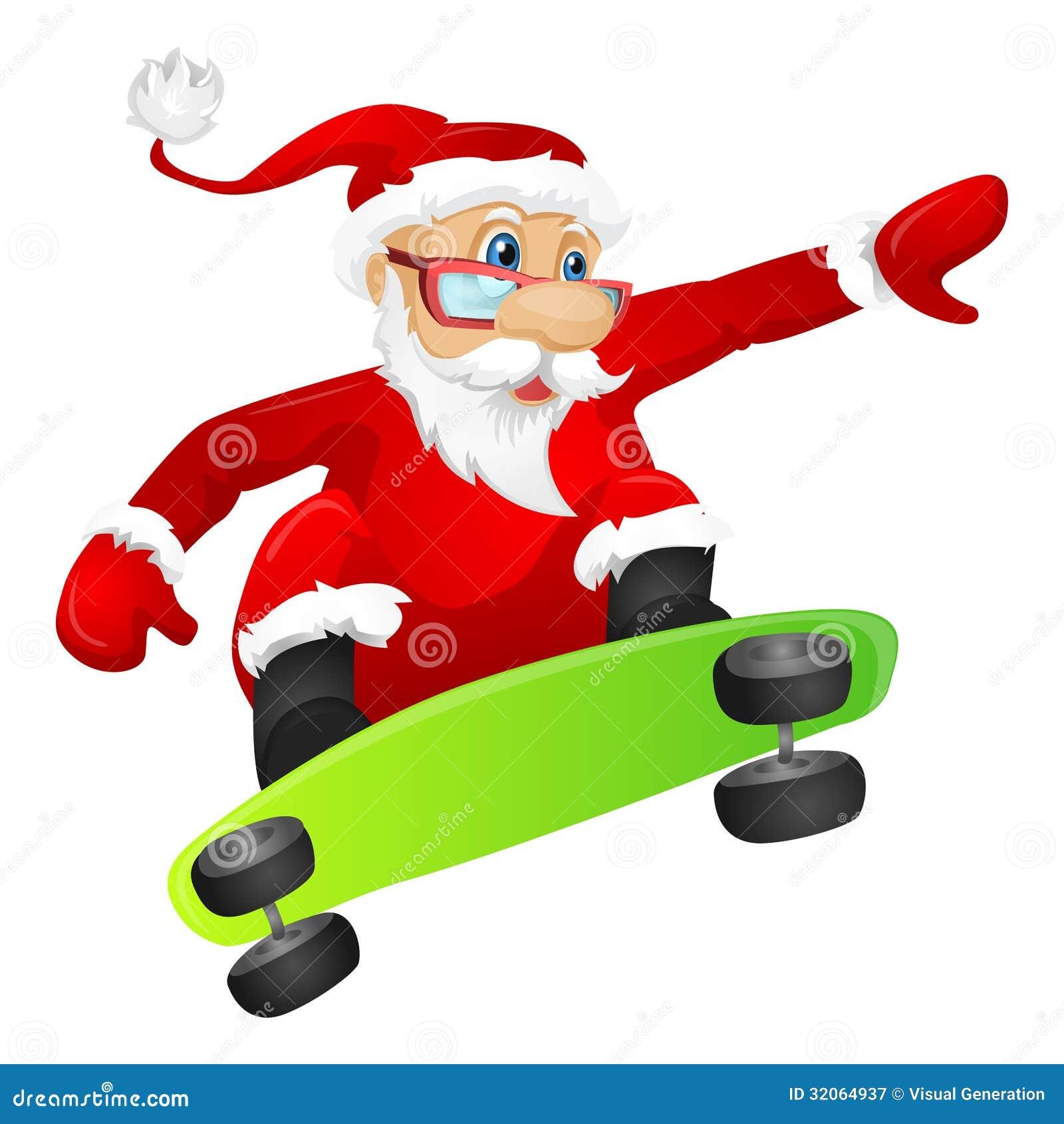 Santa Claus Stock Vector Image Of Adult Character Click Santa Claus Skateboard