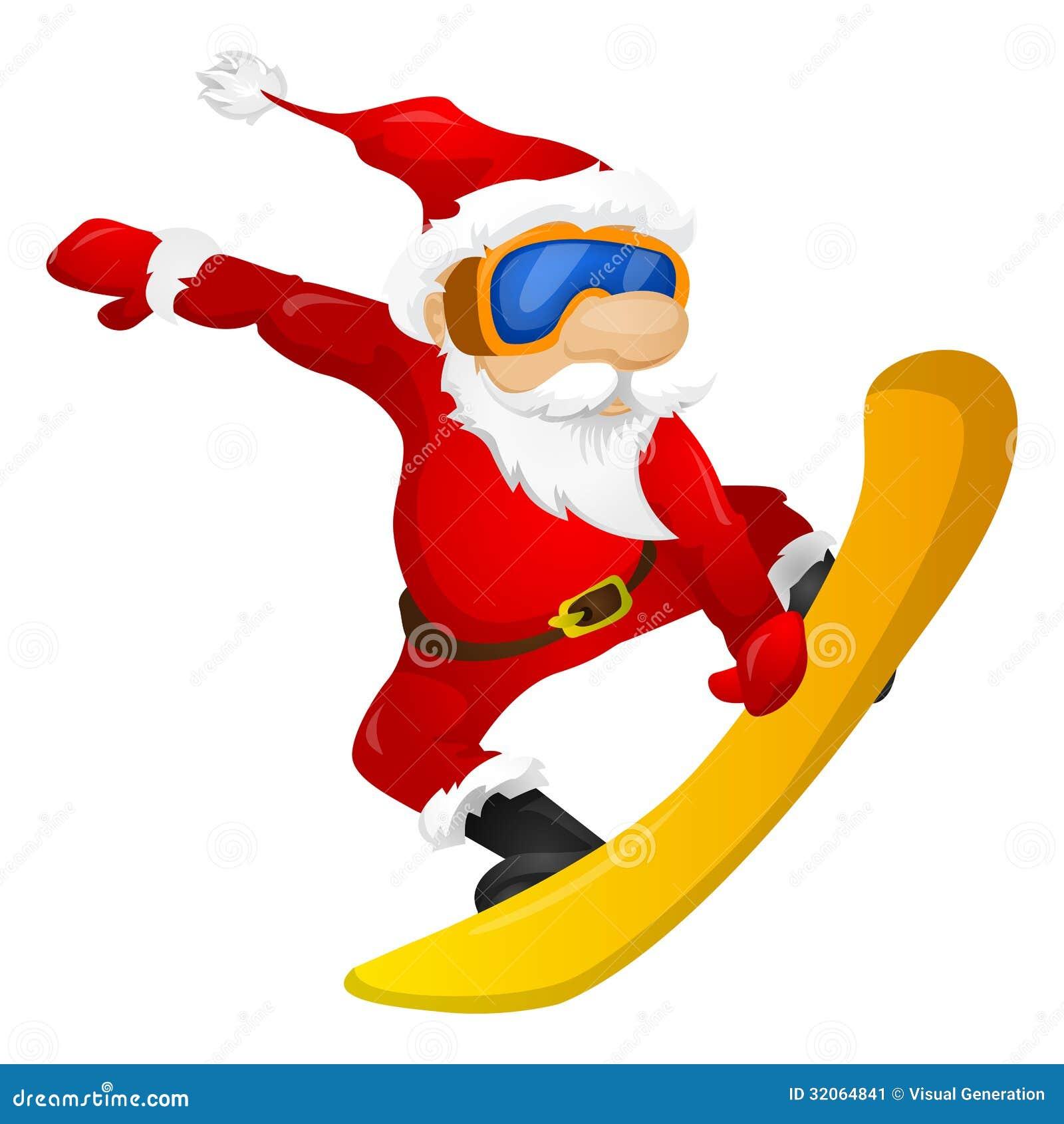 Santa Snowboarding snowboarding santa claus royalty free stock ...