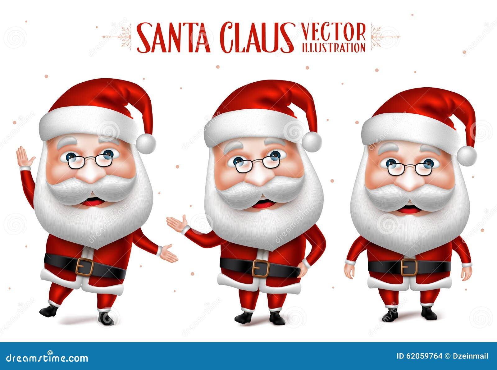 Santa Claus Cartoon Character Set för jul