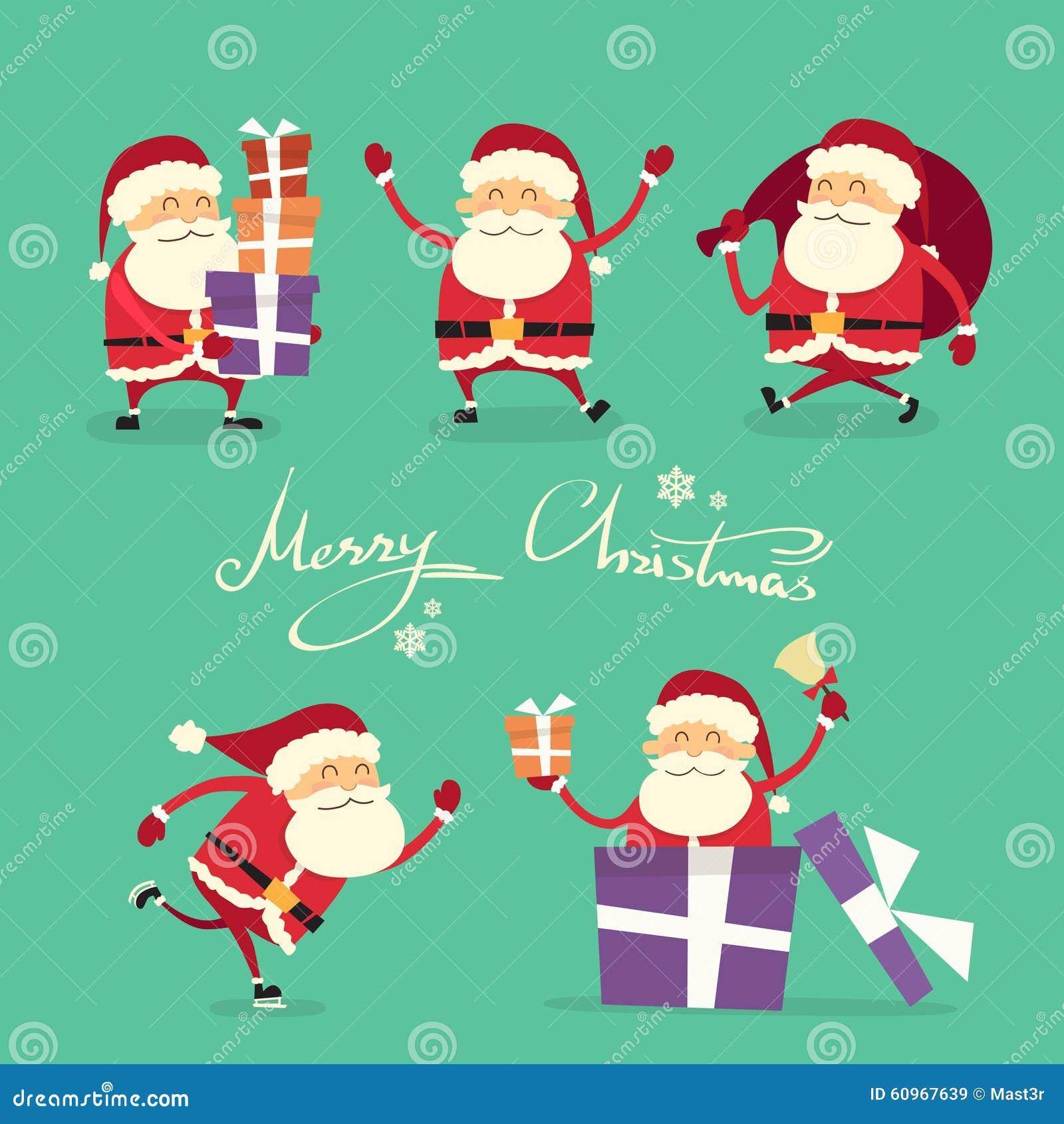 Santa claus cartoon character set gift box stock vector