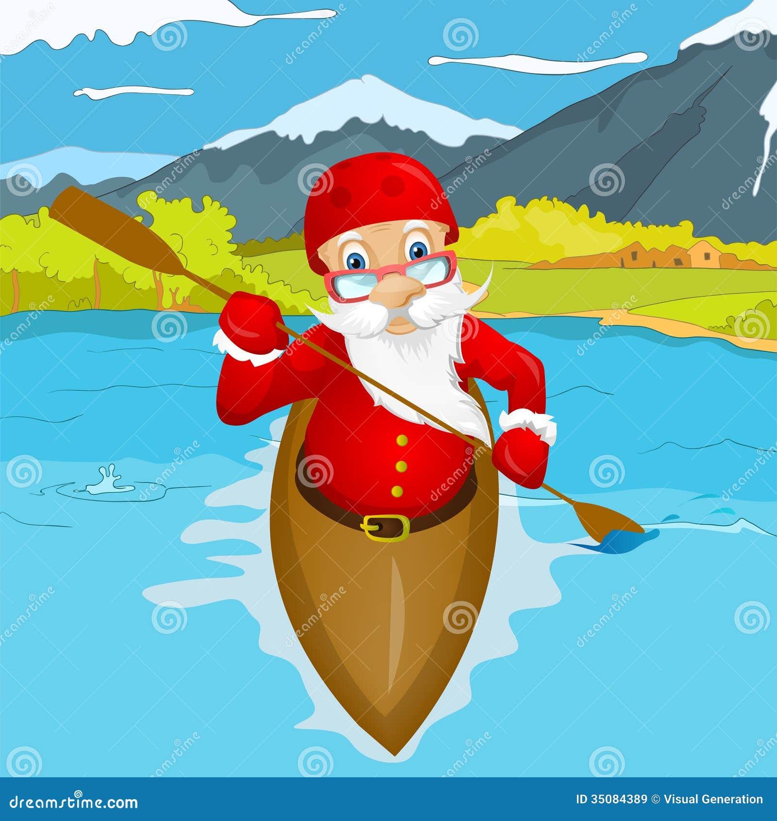Santa claus stock vector image of clip kayak