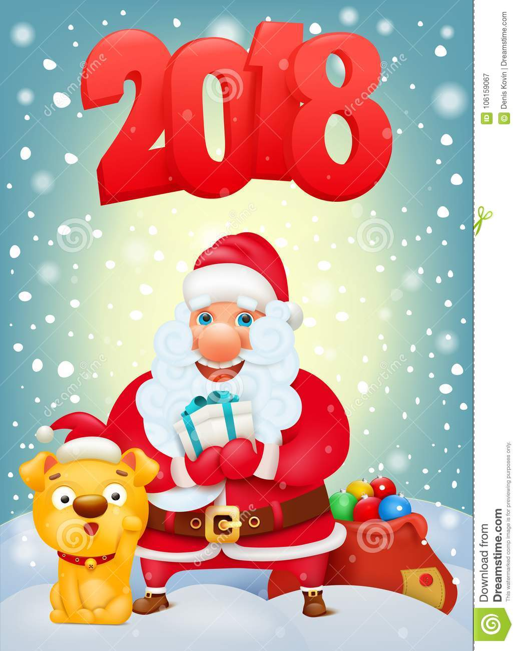 download santa claus cartoon character with yellow dog new year invitation card template stock
