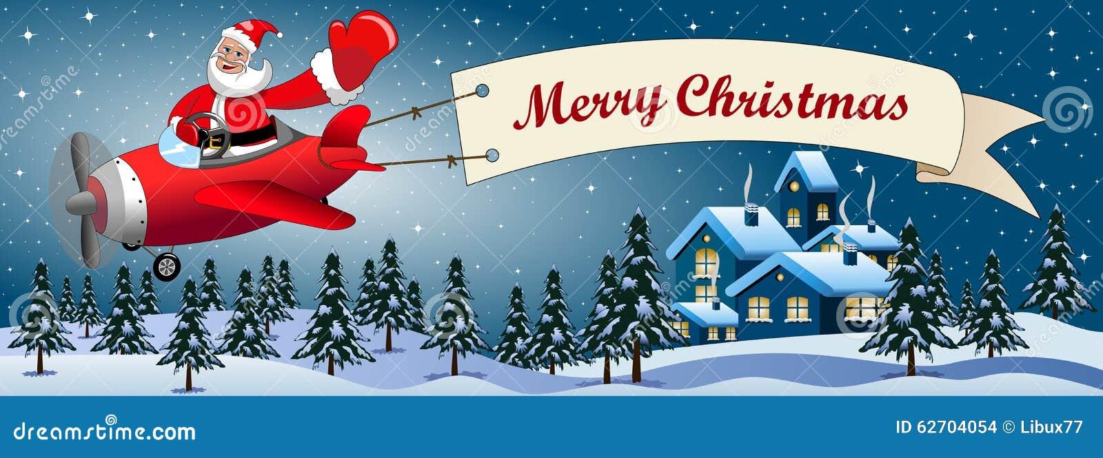 Santa claus cartoon flying airplane night landscape stock