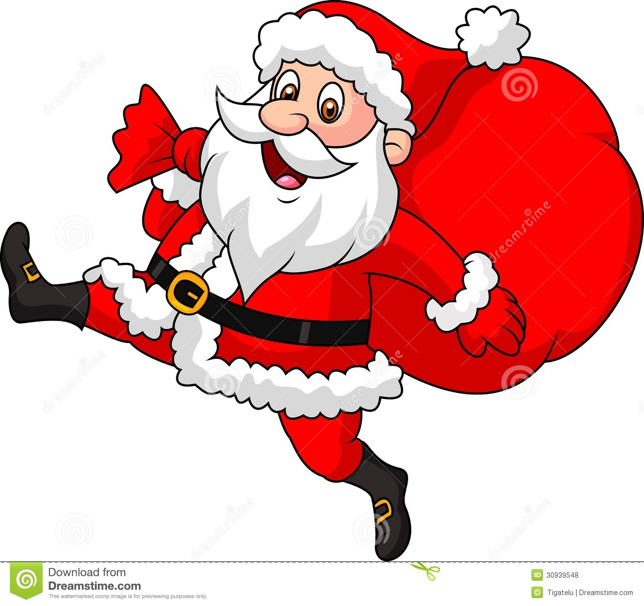 Santa claus cartoon running with the bag of the presents stock santa claus cartoon running with the bag of the presents jeuxipadfo Choice Image