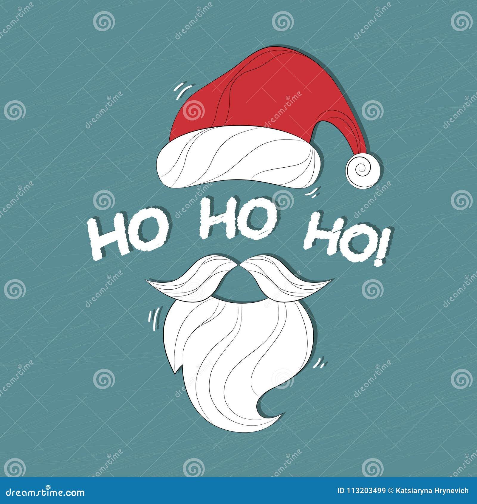 Ho Ho Ho Frohe Weihnachten.Santa Claus Cartoon Sant Weihnachtshintergrund Mit Santa