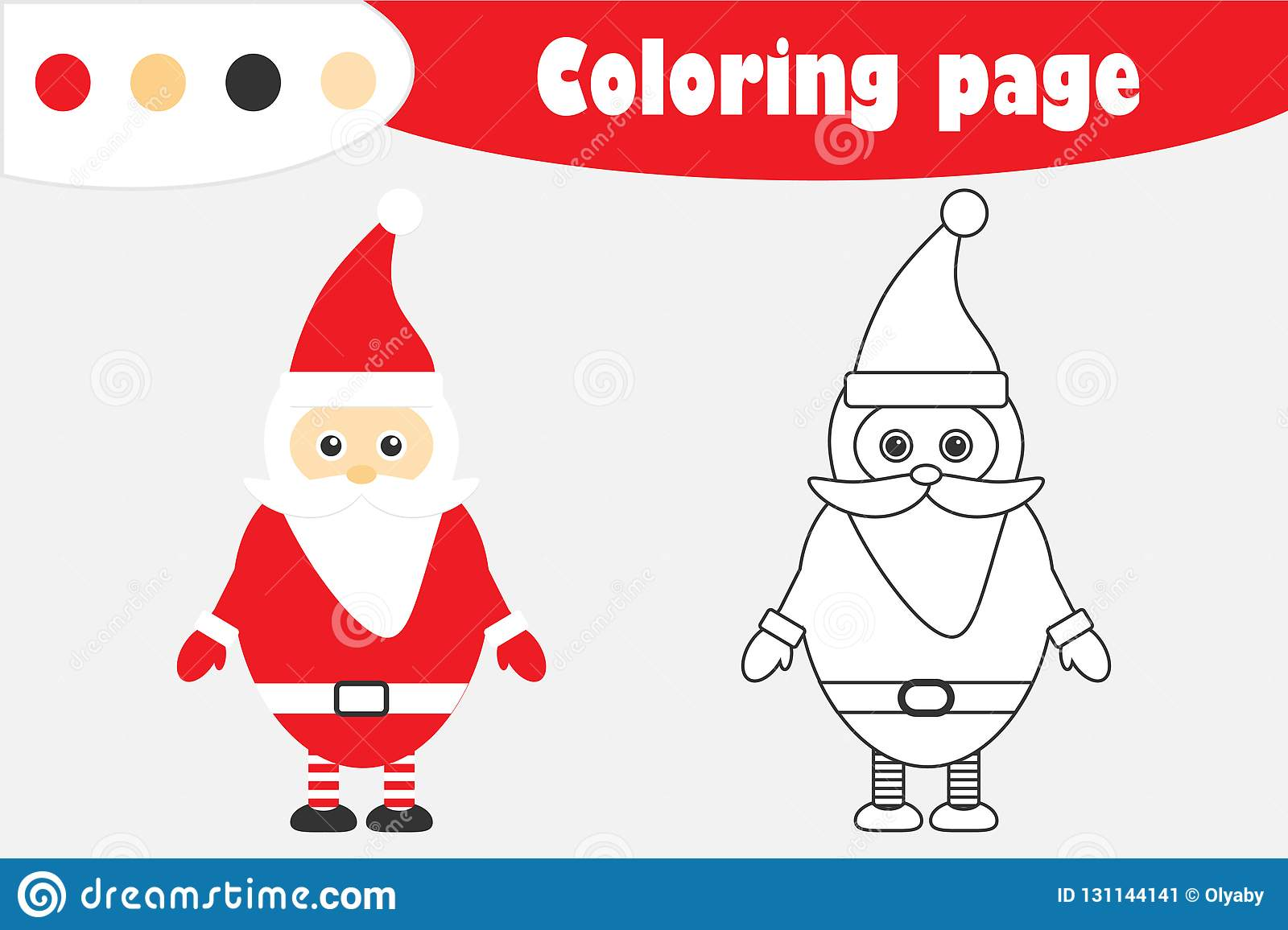 Santa Claus In Cartoon Style Christmas Coloring Page