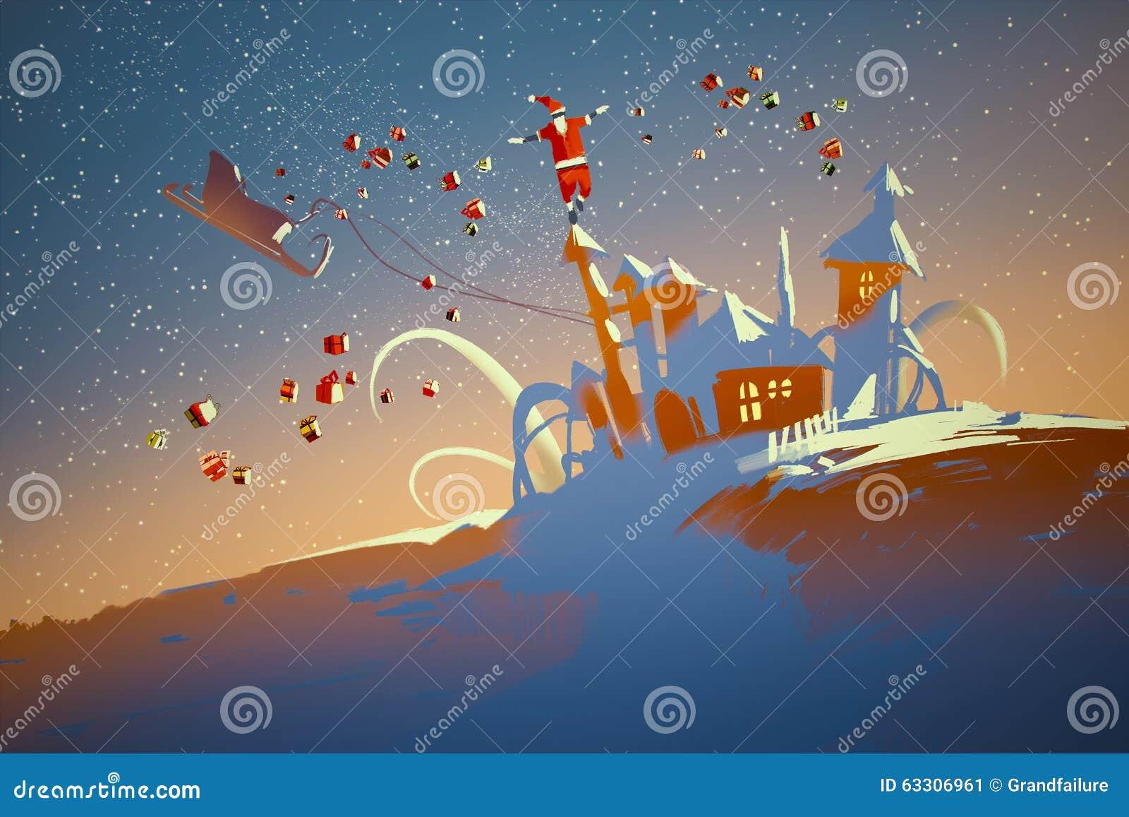 Santa Claus che equilibra sulle case di fantasia