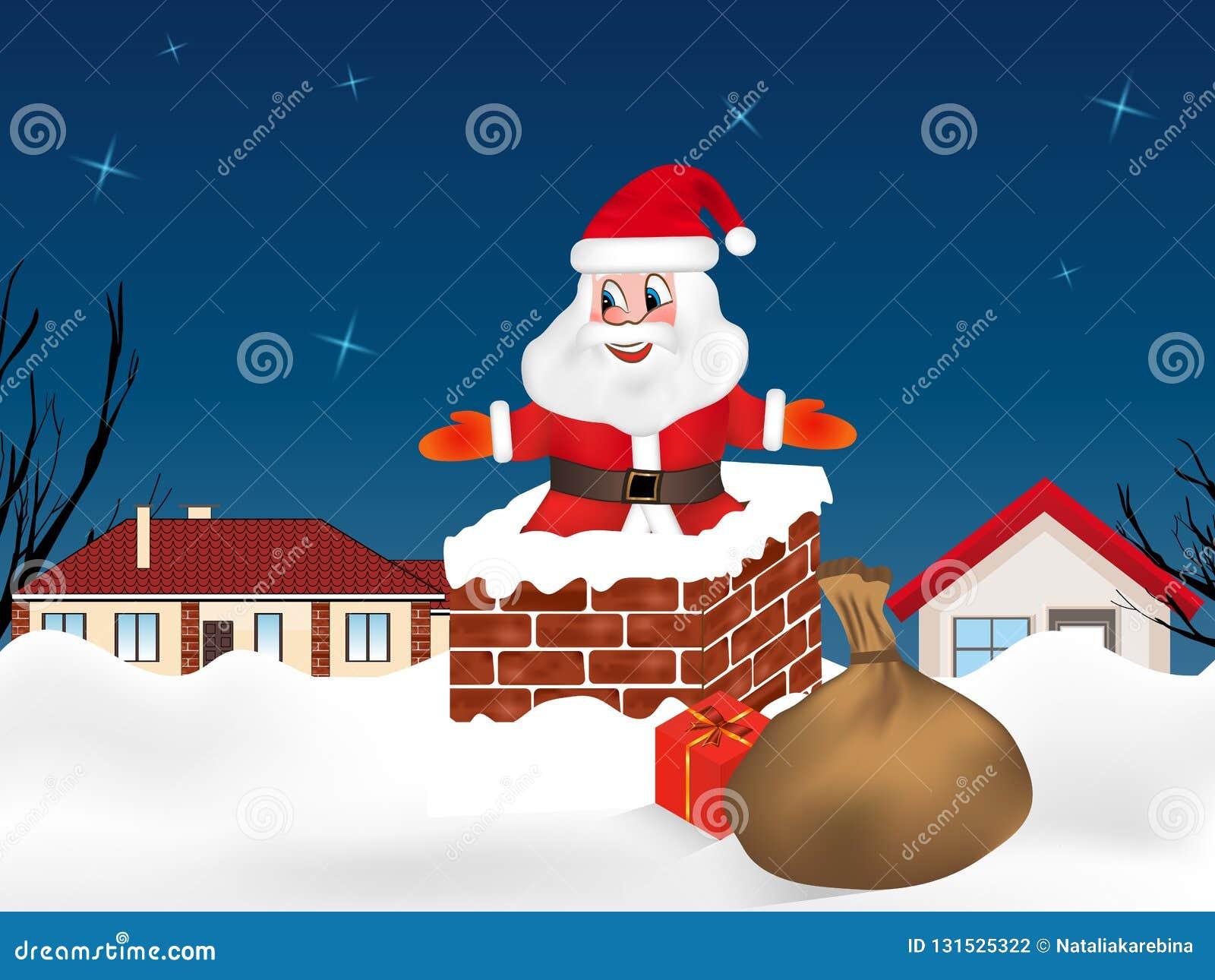 Santa Claus che salta nel camino e licenziare in pieno dei regali Città di notte di inverno Cartolina di Natale Vettore