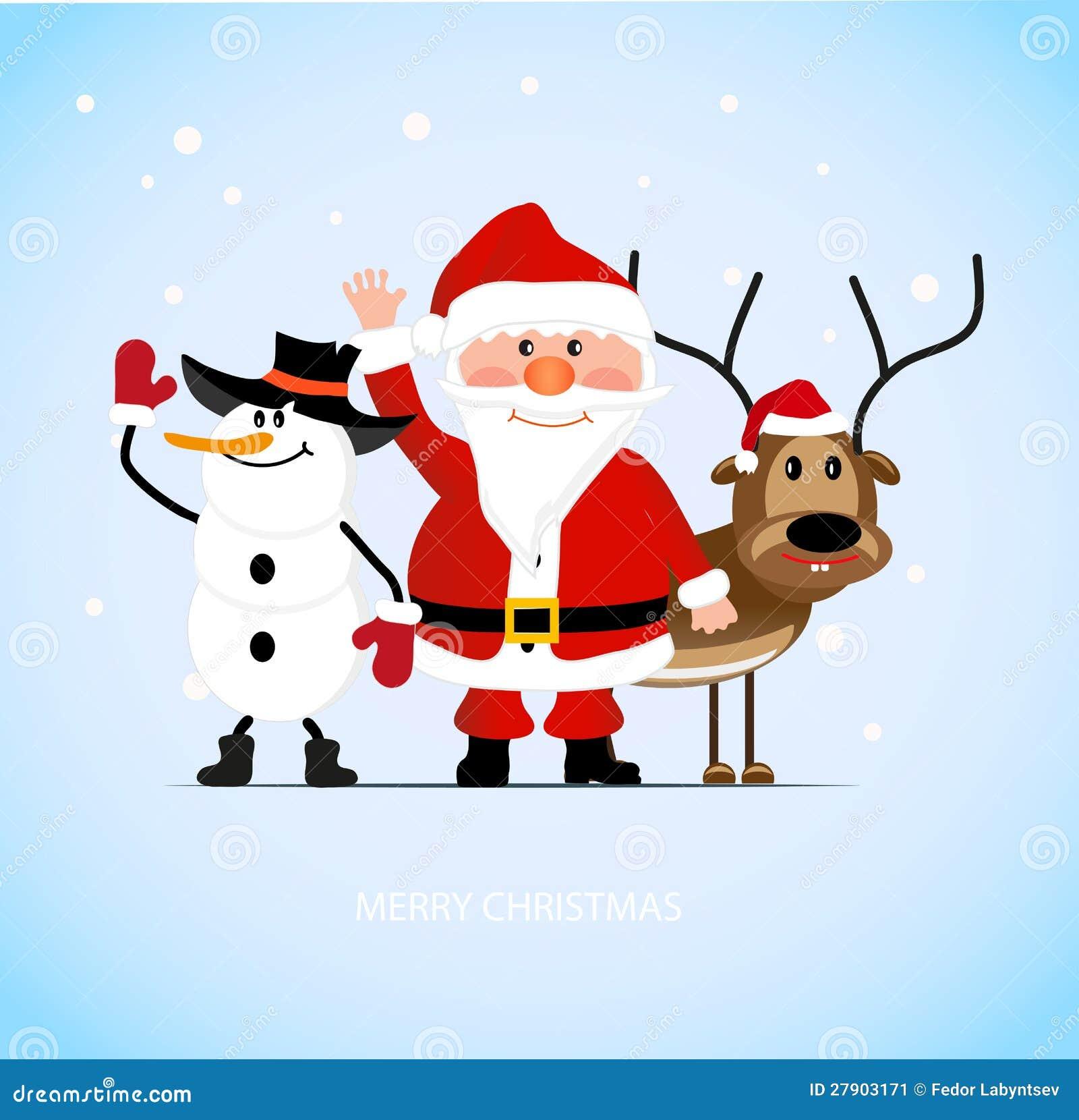 santa claus with a cheerful deer and a snowman - Snowman Santa