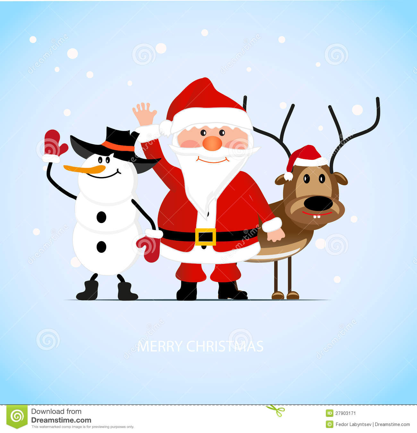 santa claus with a cheerful deer and a snowman - Santa And Snowman