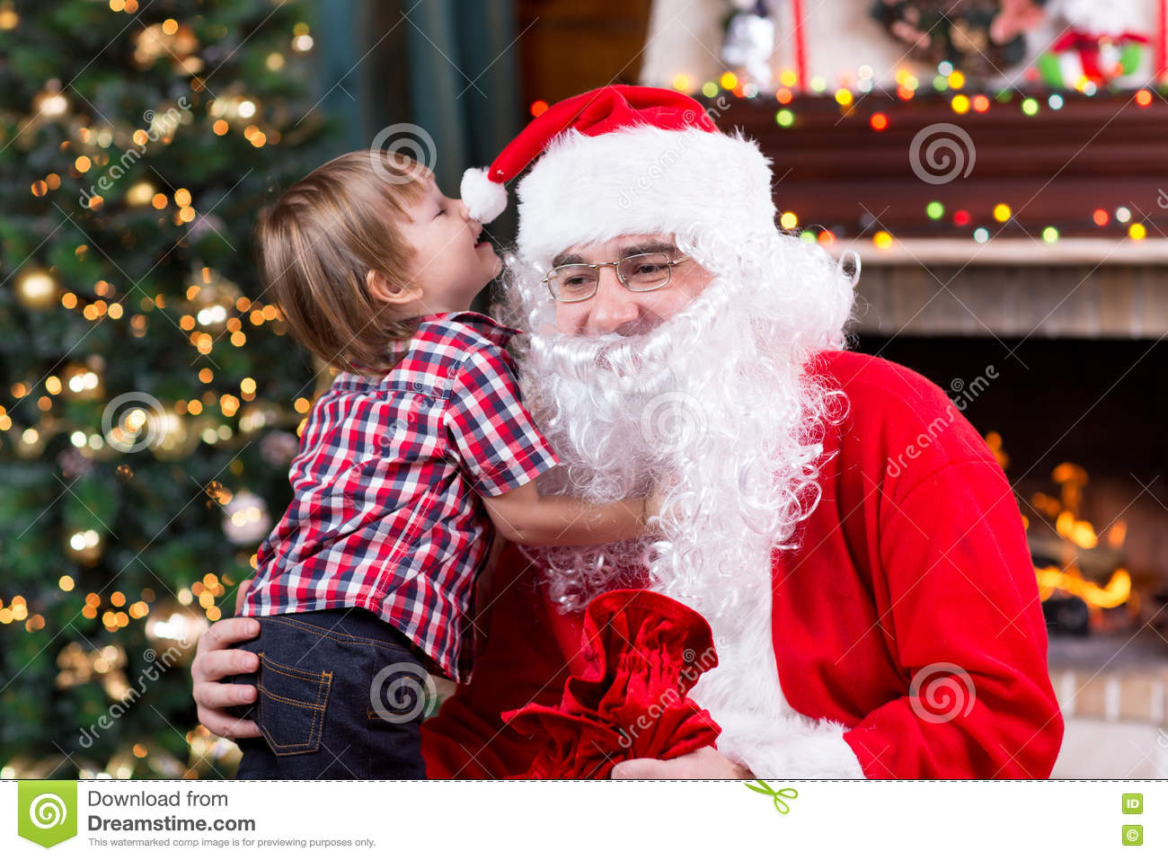Download Santa Claus And Child With Presents At Fireplace. Kid And Father In Santa Costume  sc 1 st  Dreamstime.com & Santa Claus And Child With Presents At Fireplace. Kid And Father In ...