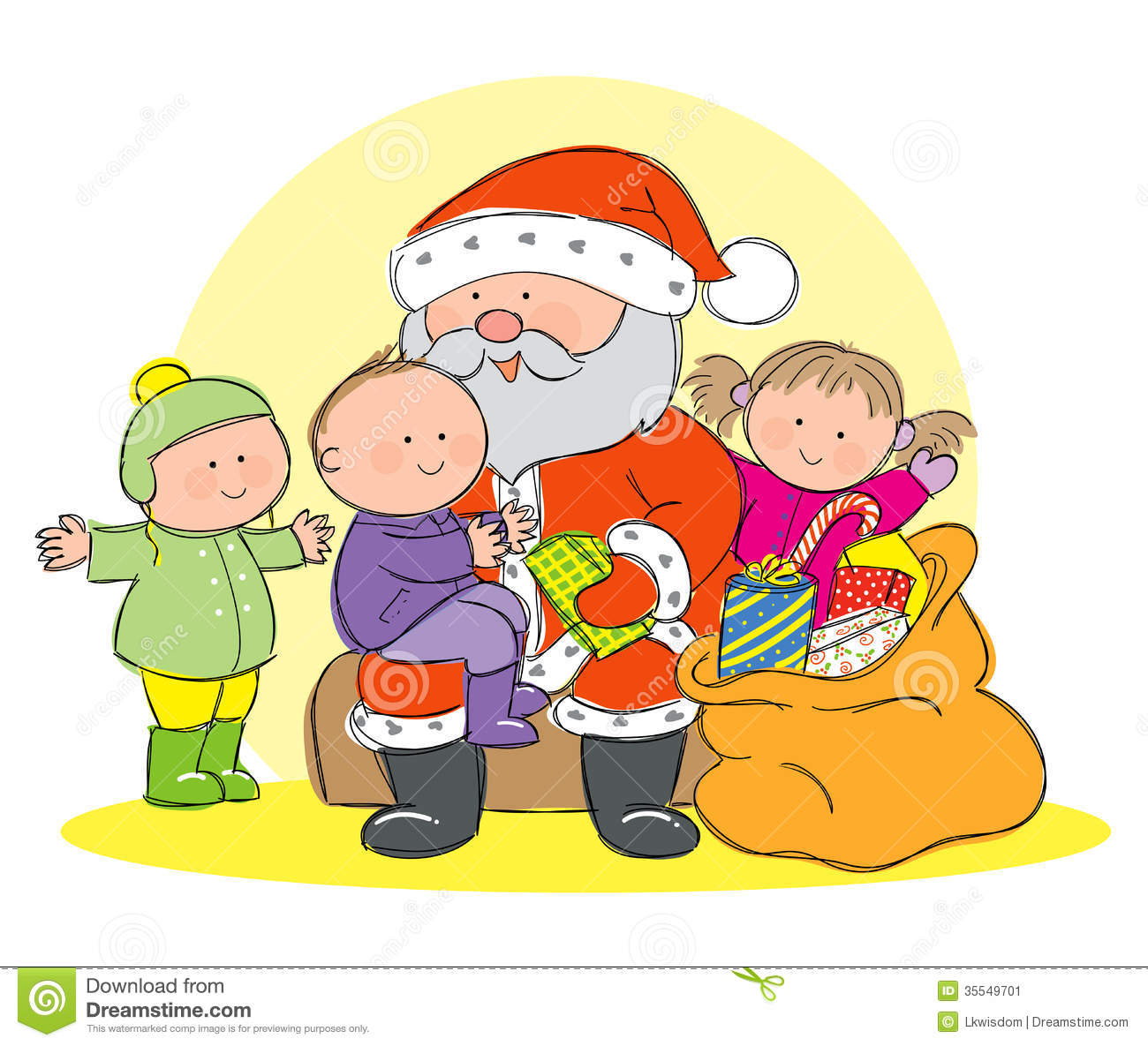 Santa Claus with children stock vector. Image of claus ...