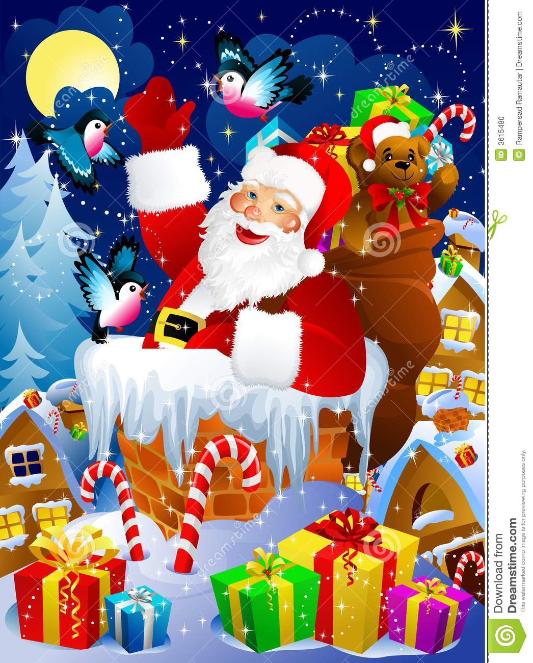 Christmas night scene with Santa Claus in chimney with presents.