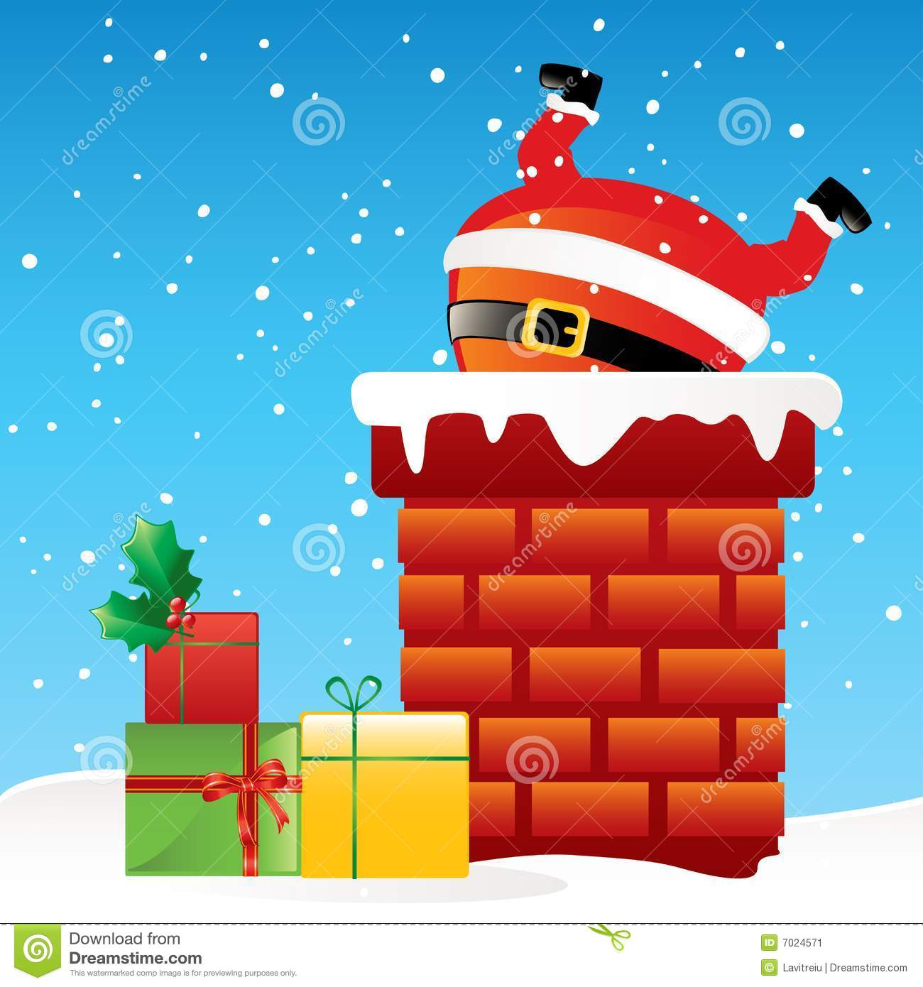 Santa Claus In The Chimney Stock Image Image 7024571