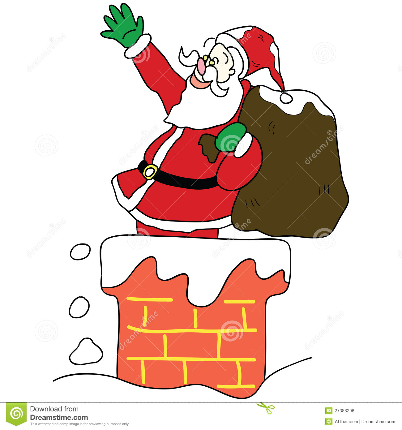 Santa Claus In The Chimney Christmas Hand Drawn Stock