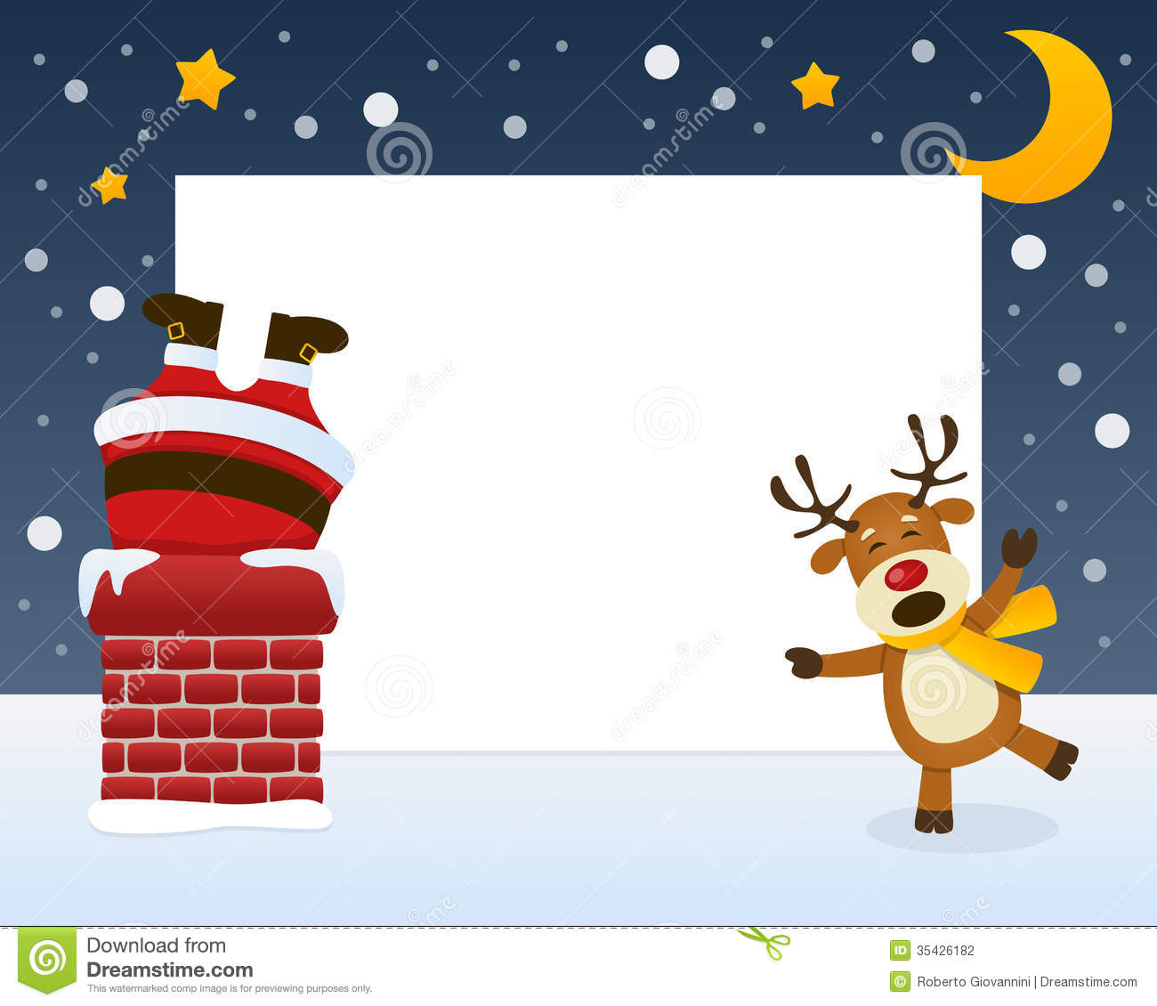 Santa claus in the chimney frame stock photography image - Marco de chimenea ...