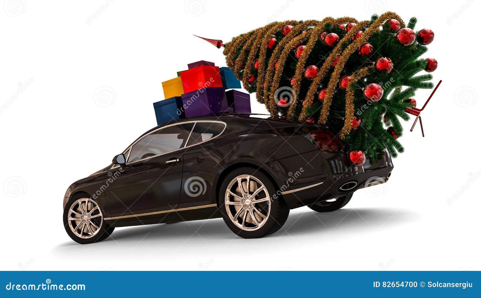 Santa Claus Christmas-Auto Mit Weihnachtsbaum Stock Abbildung ...