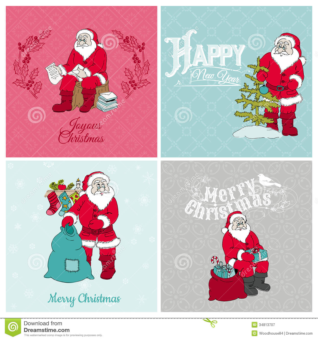 santa claus christmas cards stock vector