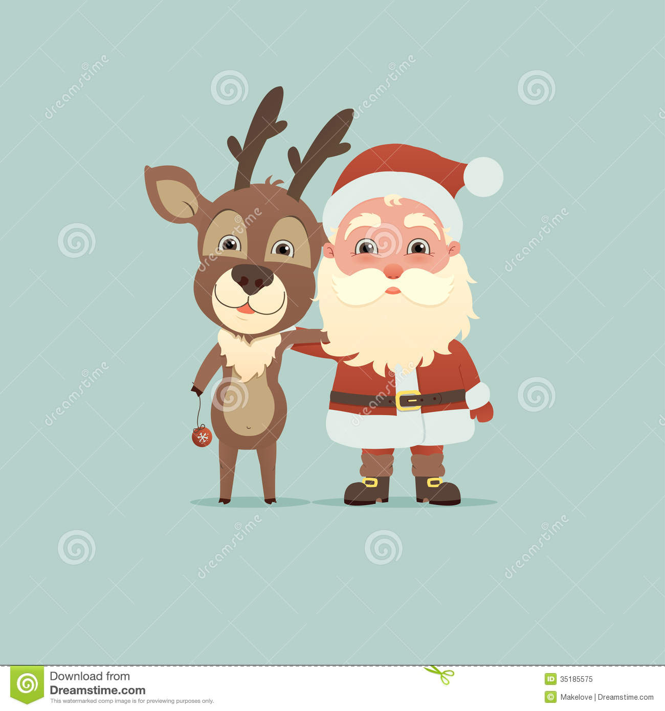 Santa claus and christmas deer stock vector image