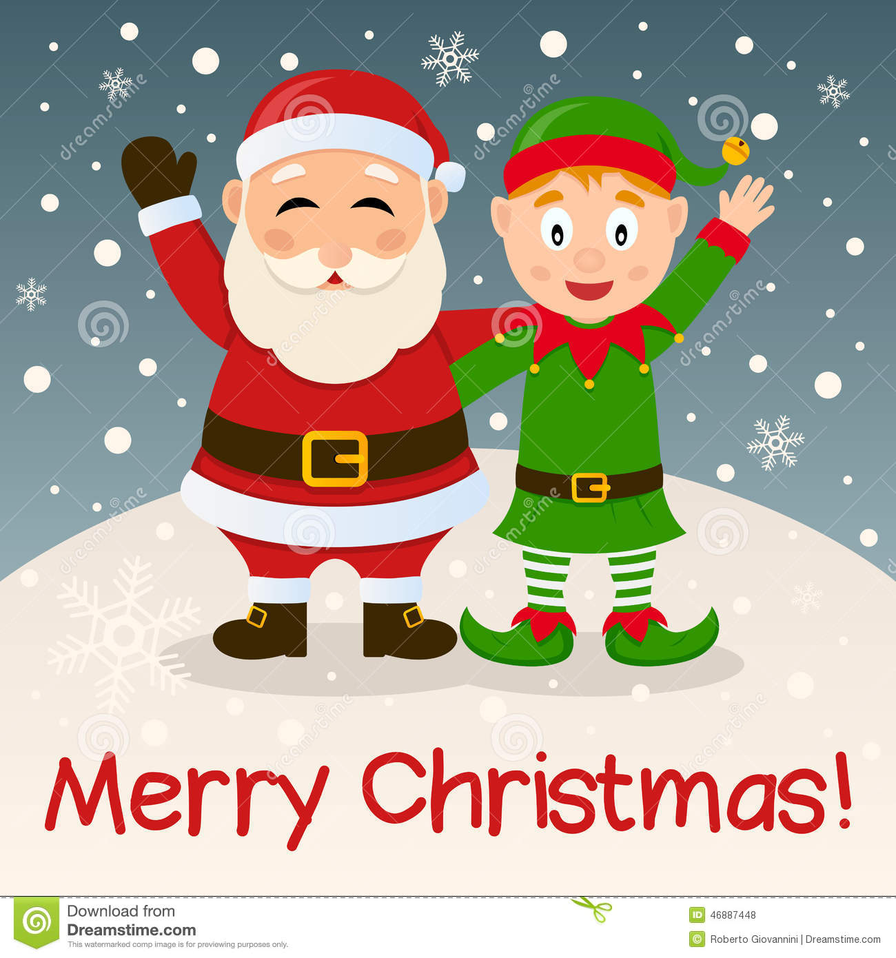 Santa Claus & Christmas Elf On The Snow Stock Vector - Image: 46887448