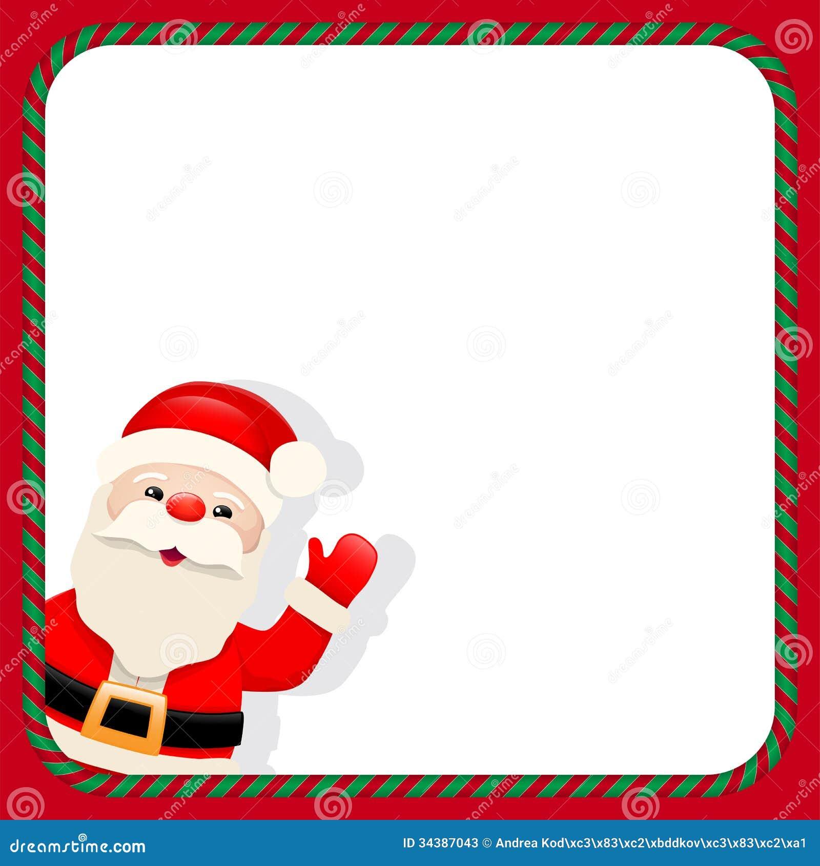 Santa Claus in christmas frame, cartoon character, illustration.