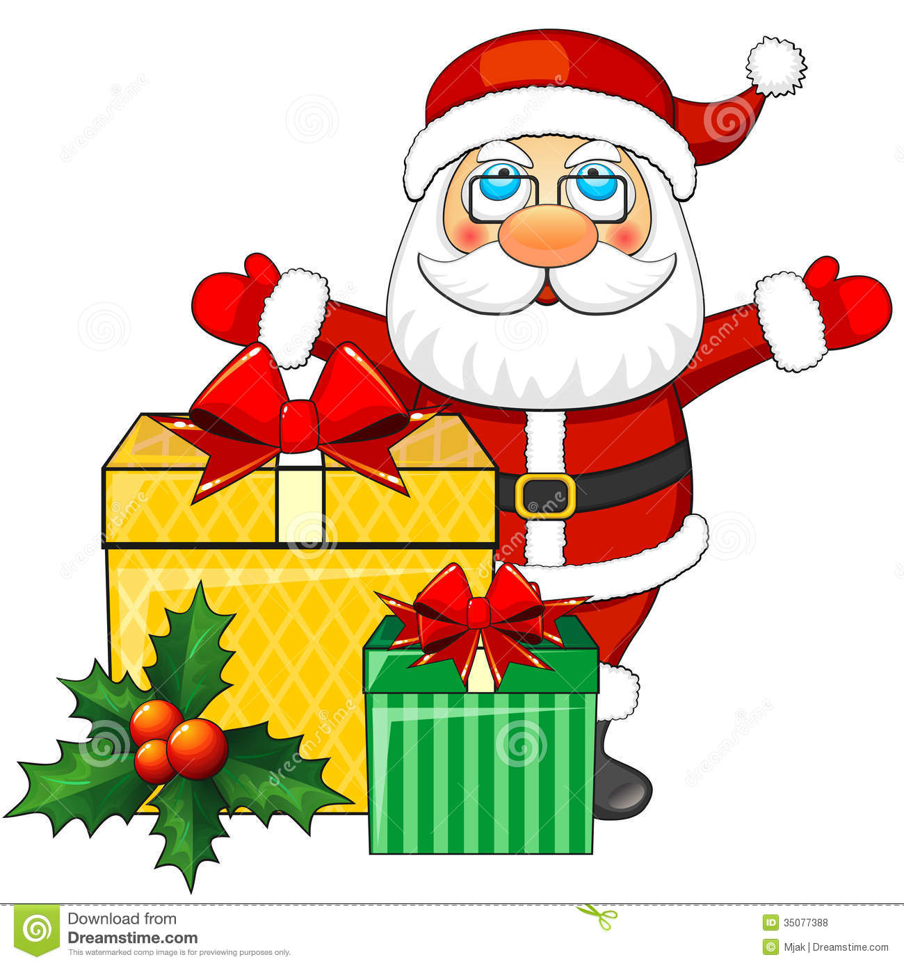 Cartoon Christmas Toys : Santa claus and christmas gifts royalty free stock photos