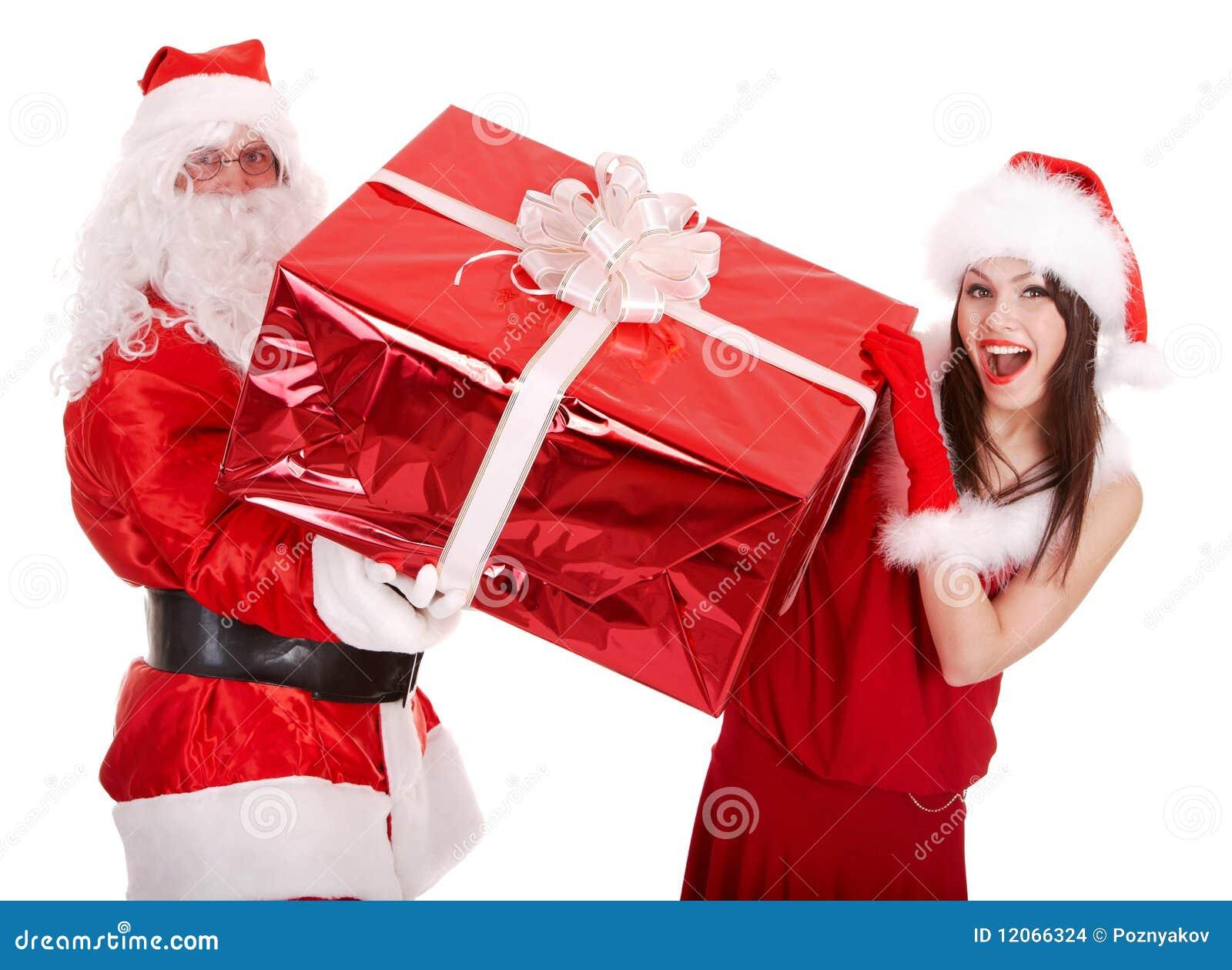 download santa claus and christmas girl with big gift box stock photo image of - Big Christmas Gifts