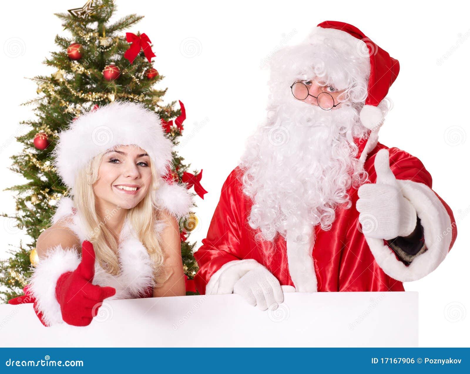 Santa claus and christmas girl holding banner royalty