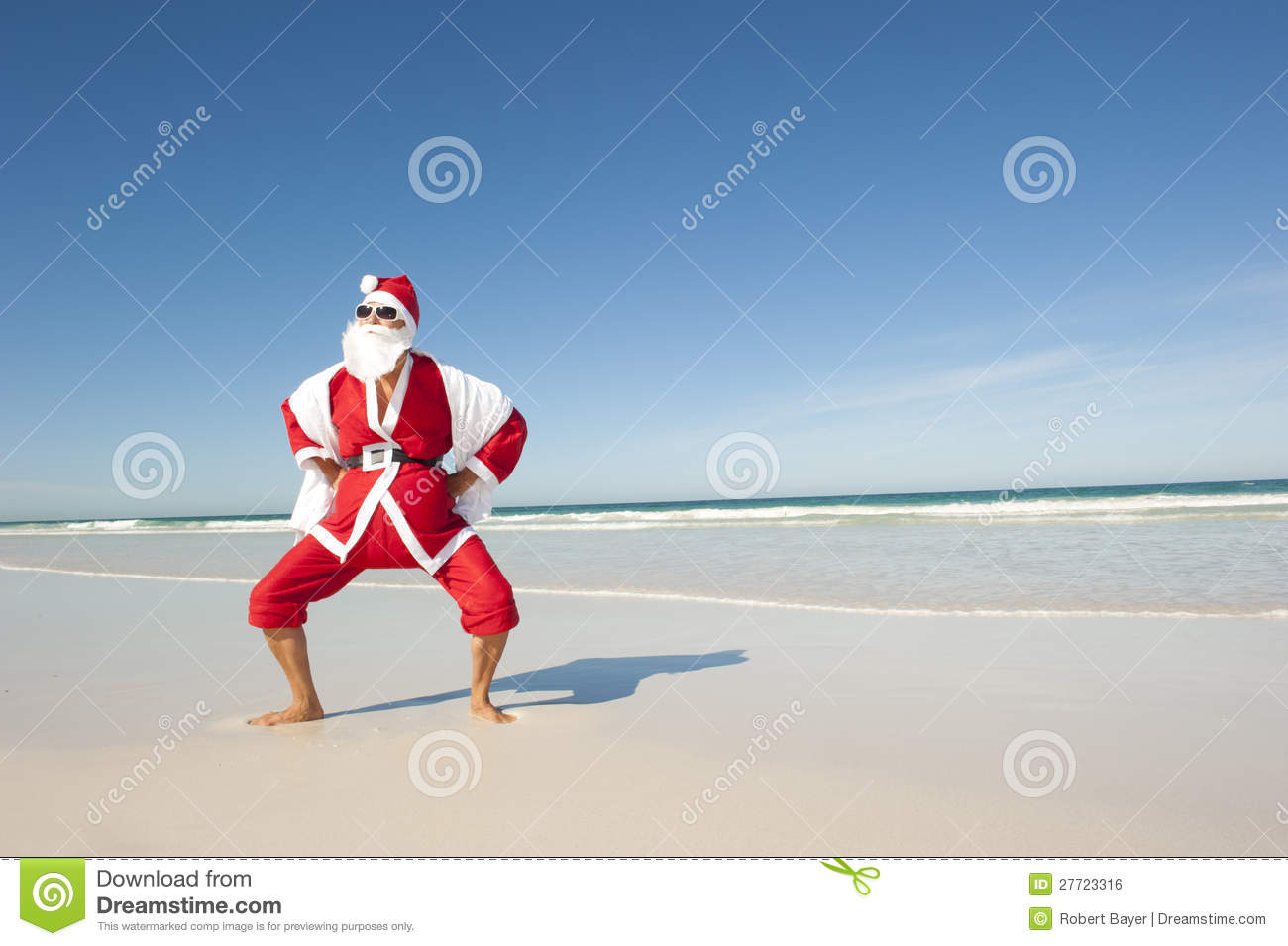 Santa Claus standing confident with towel at beach, having fun and joy ...