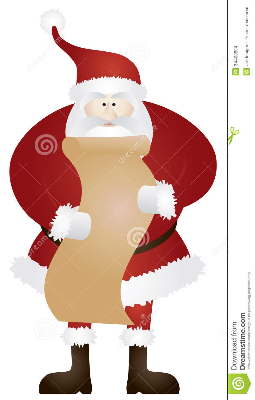 naught santa pictures santa claus with christmas list illustration stock vector 7524