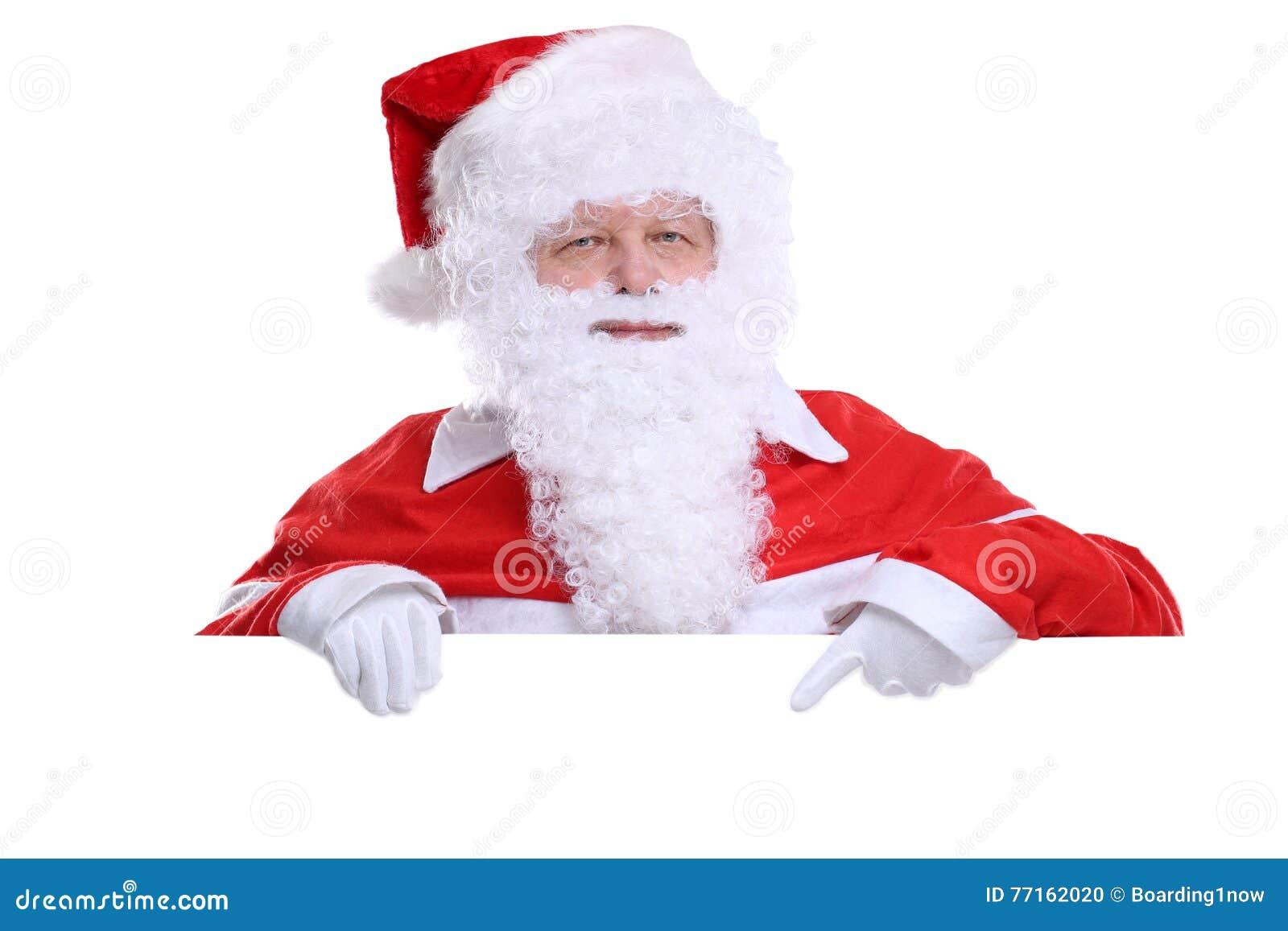 Santa Claus Christmas montrant la bannière vide avec le copyspace