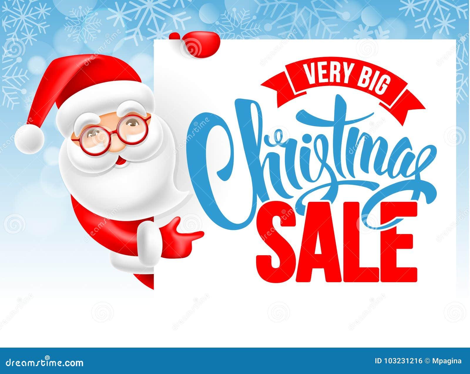 de52d2a58c Cheerful cartoon Santa Claus and Christmas sale advertising poster. Vector  illustration.