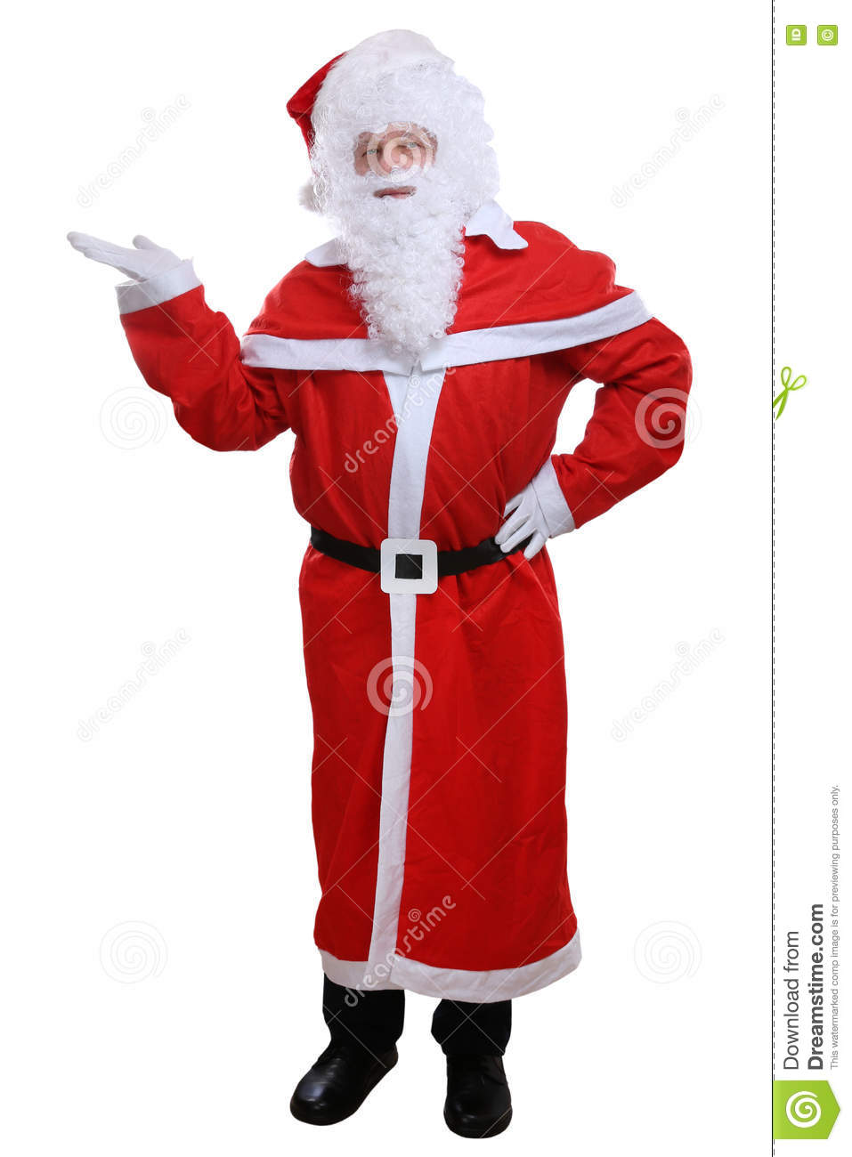 Santa Claus Christmas showing isolated on white