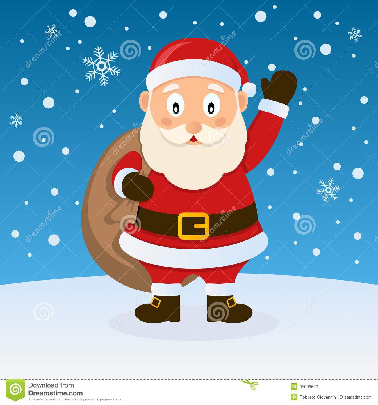 Santa Claus Christmas On The Snow Royalty Free Stock